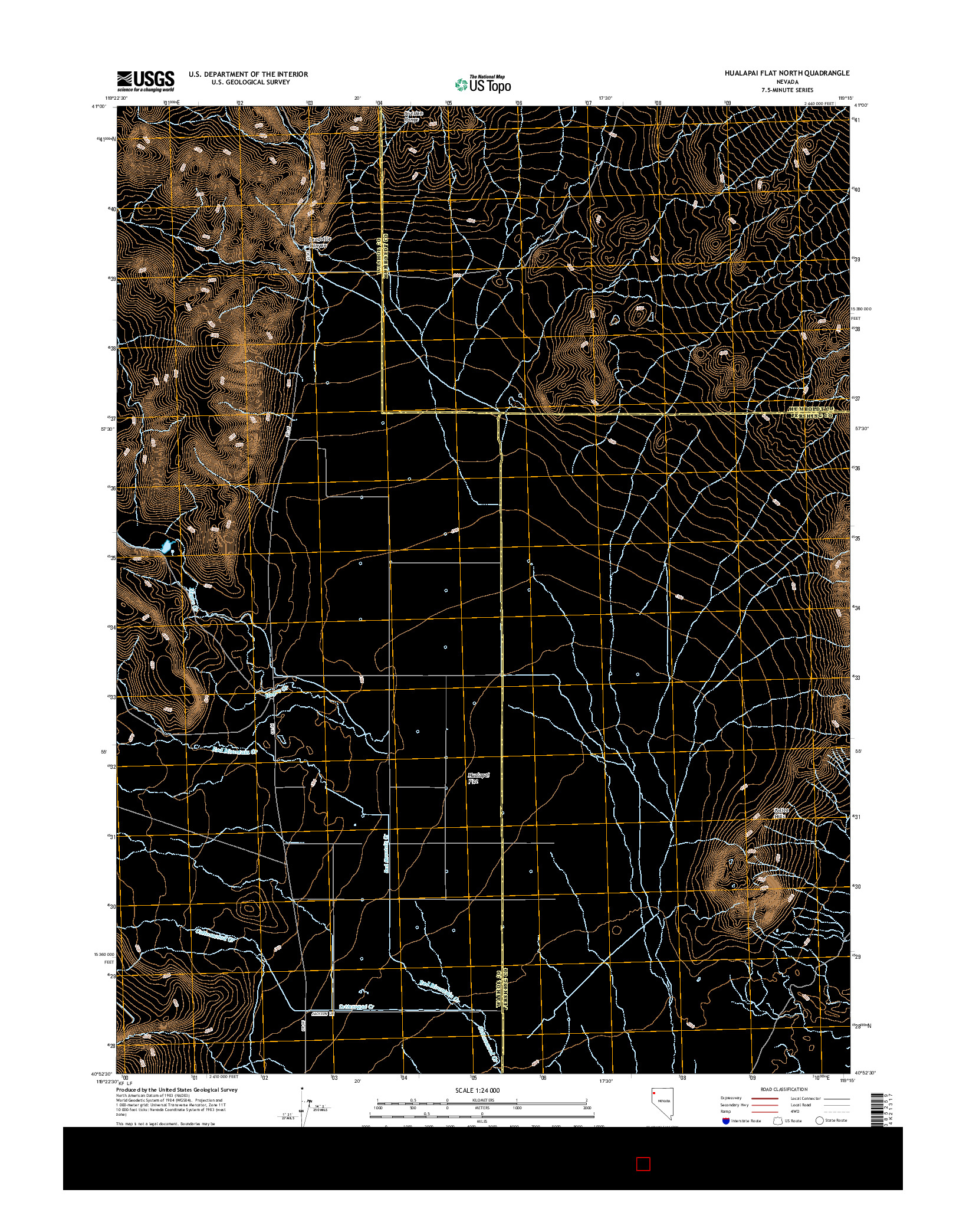 USGS US TOPO 7.5-MINUTE MAP FOR HUALAPAI FLAT NORTH, NV 2014