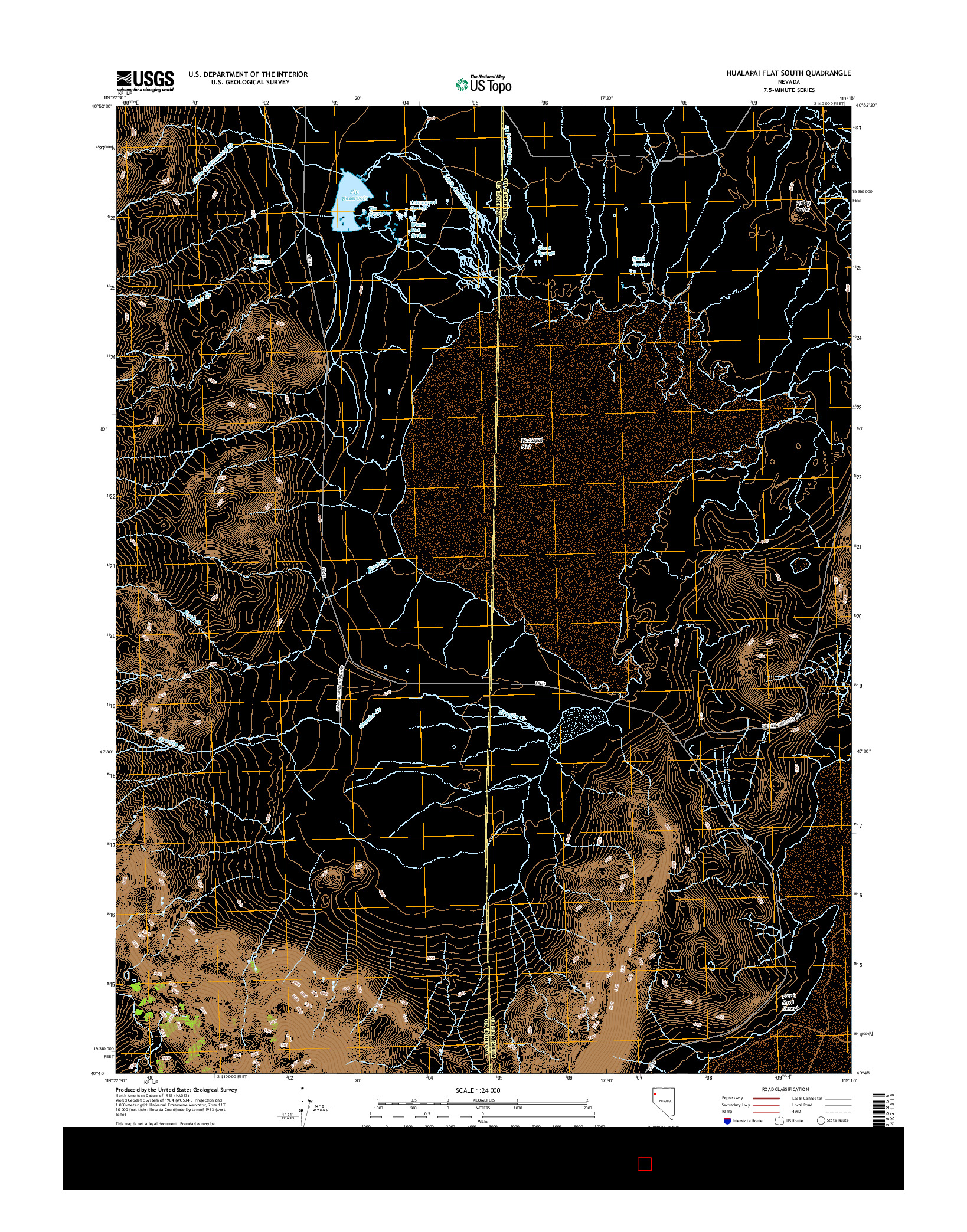 USGS US TOPO 7.5-MINUTE MAP FOR HUALAPAI FLAT SOUTH, NV 2014