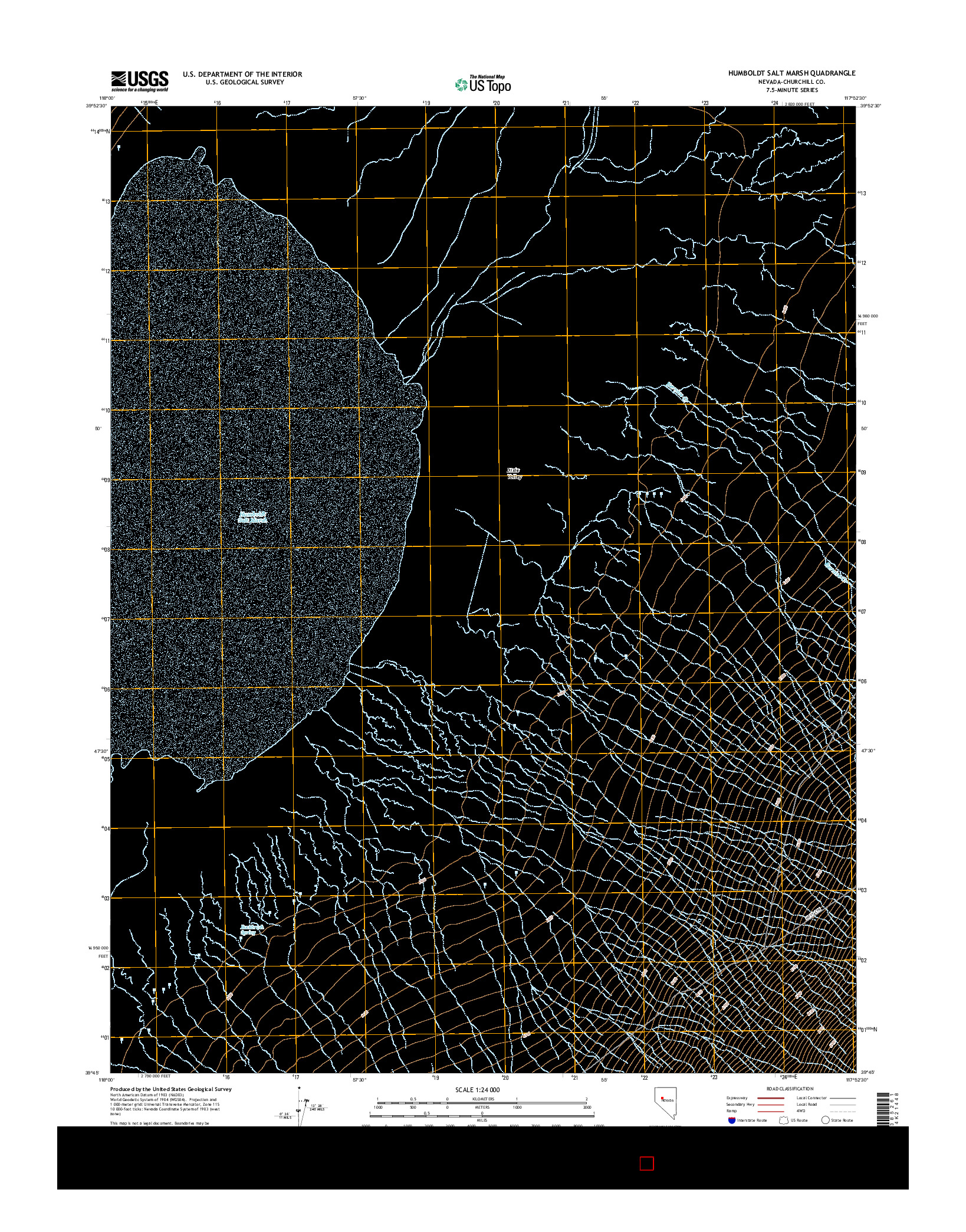 USGS US TOPO 7.5-MINUTE MAP FOR HUMBOLDT SALT MARSH, NV 2014