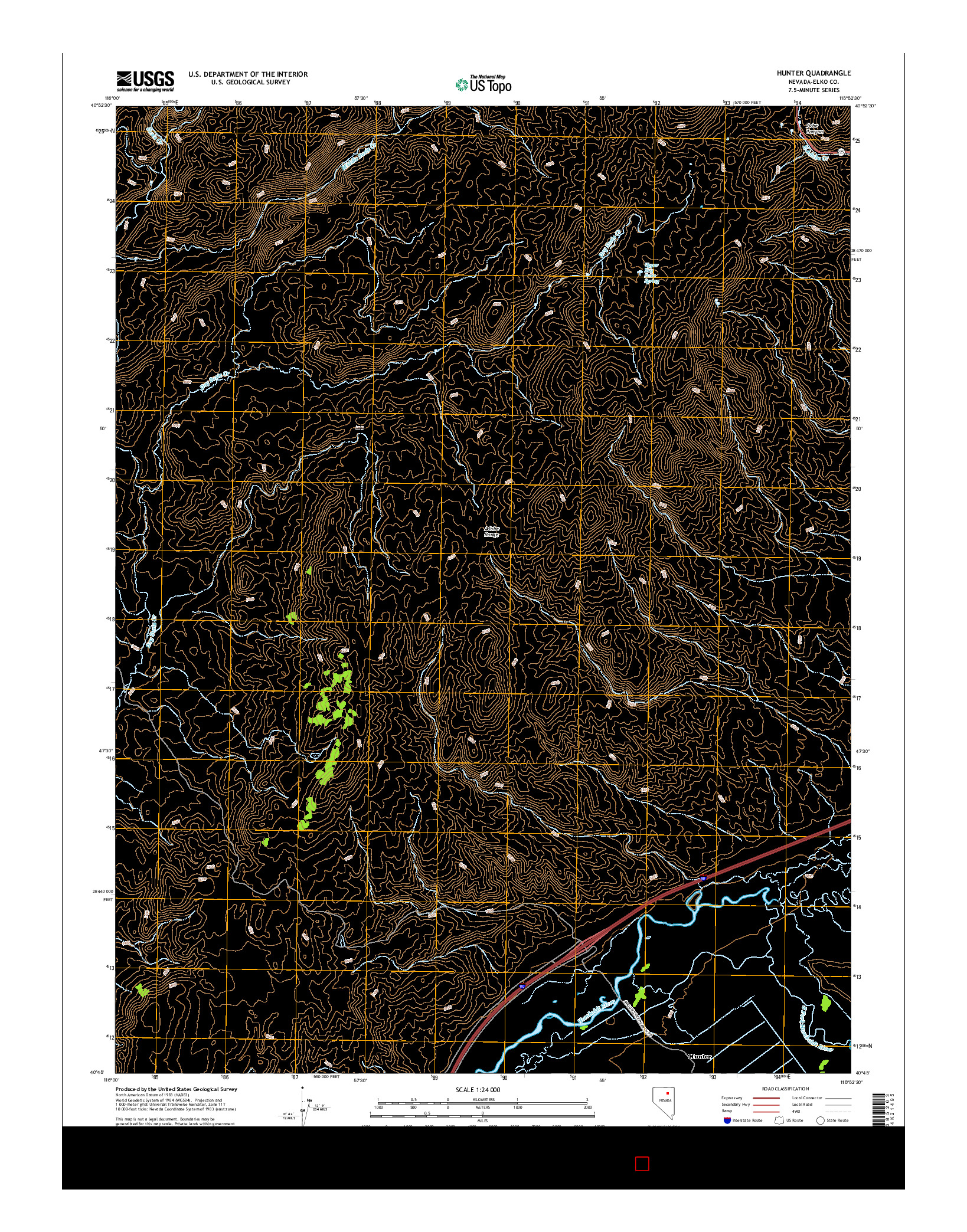 USGS US TOPO 7.5-MINUTE MAP FOR HUNTER, NV 2014