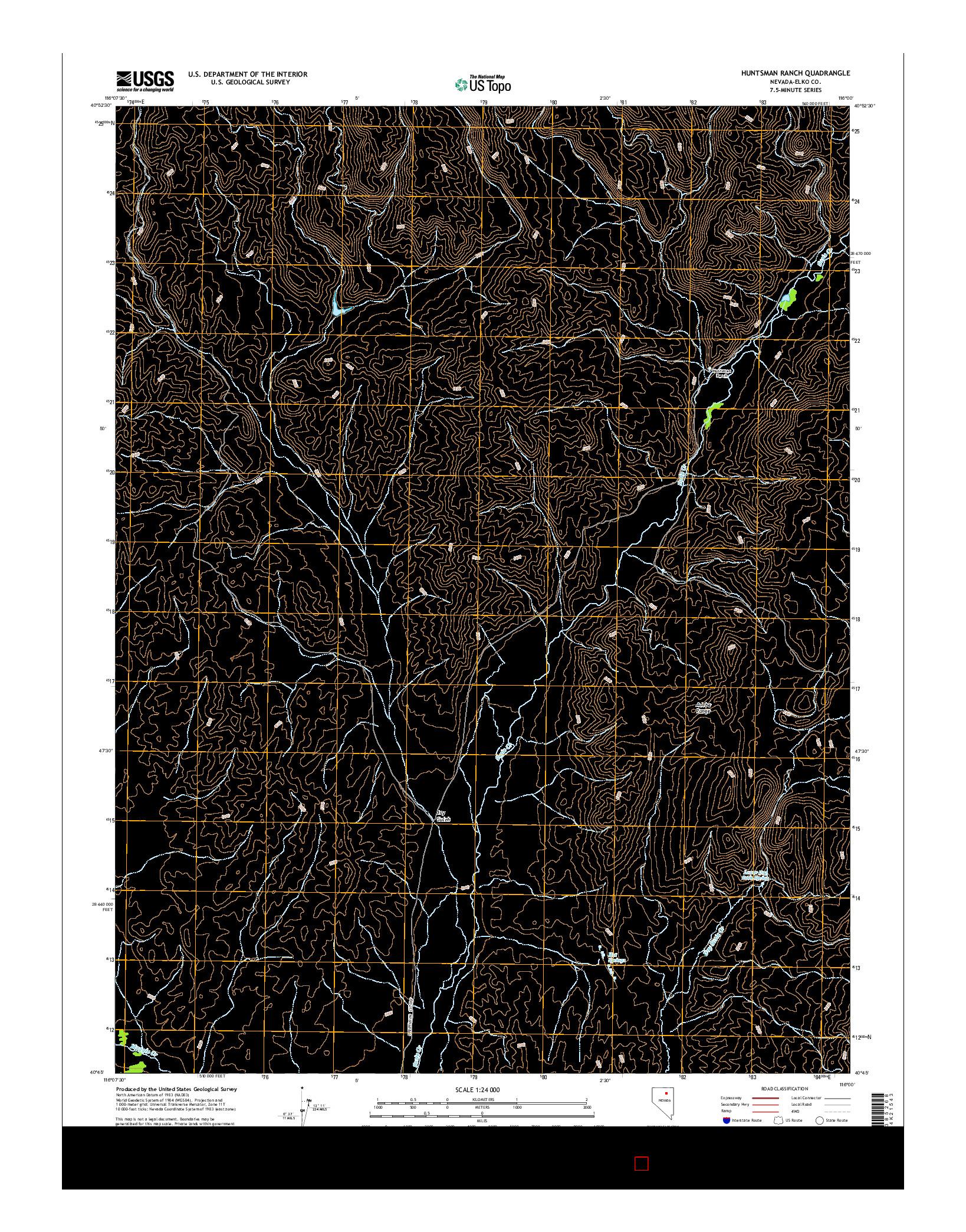 USGS US TOPO 7.5-MINUTE MAP FOR HUNTSMAN RANCH, NV 2014