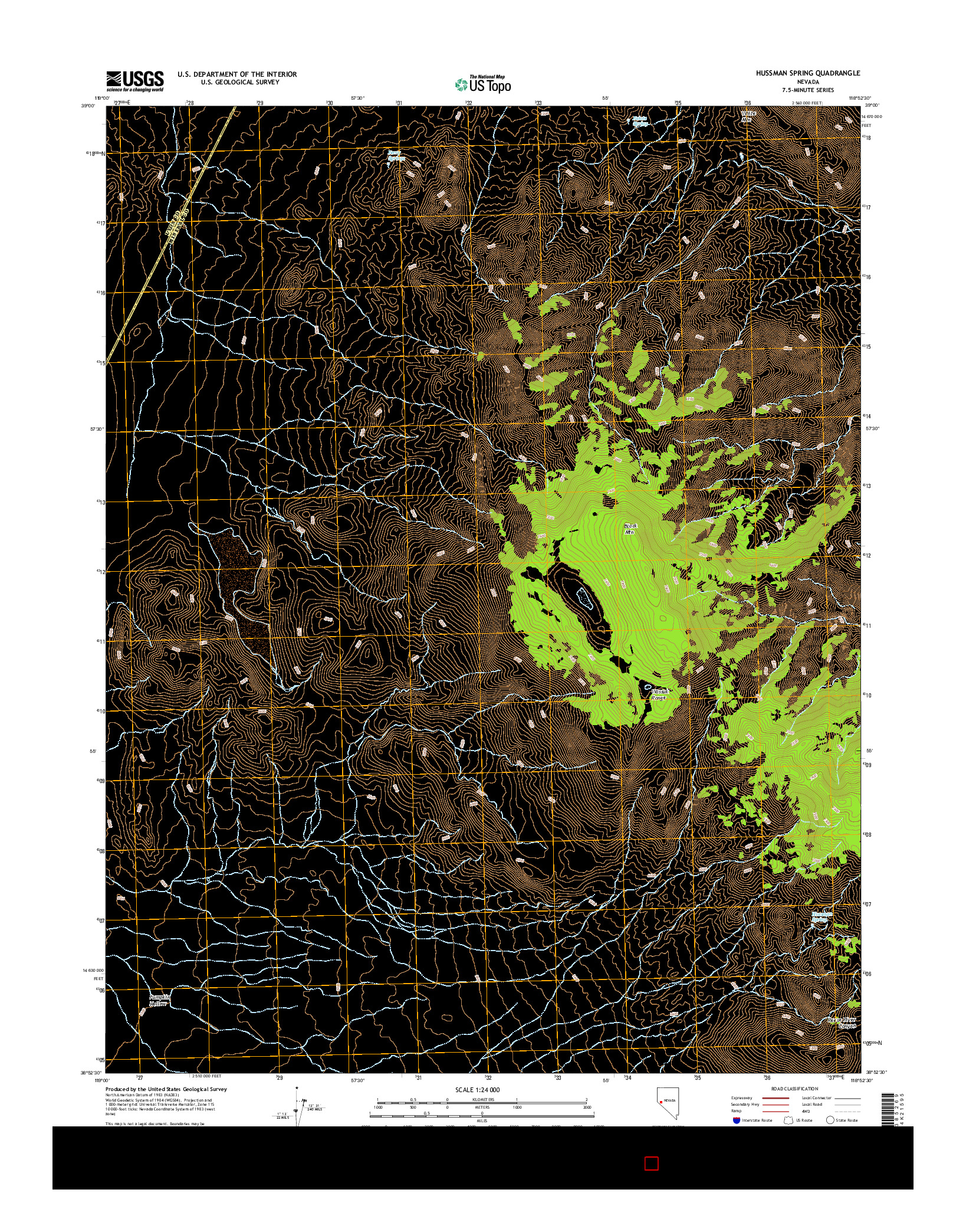 USGS US TOPO 7.5-MINUTE MAP FOR HUSSMAN SPRING, NV 2014