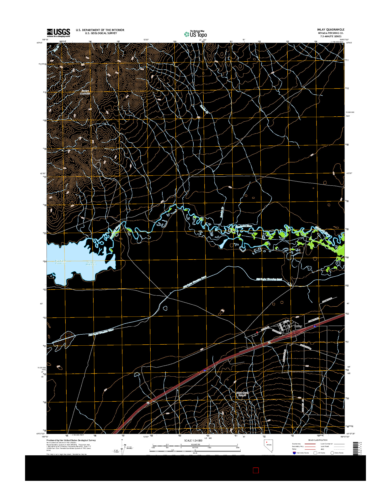 USGS US TOPO 7.5-MINUTE MAP FOR IMLAY, NV 2014