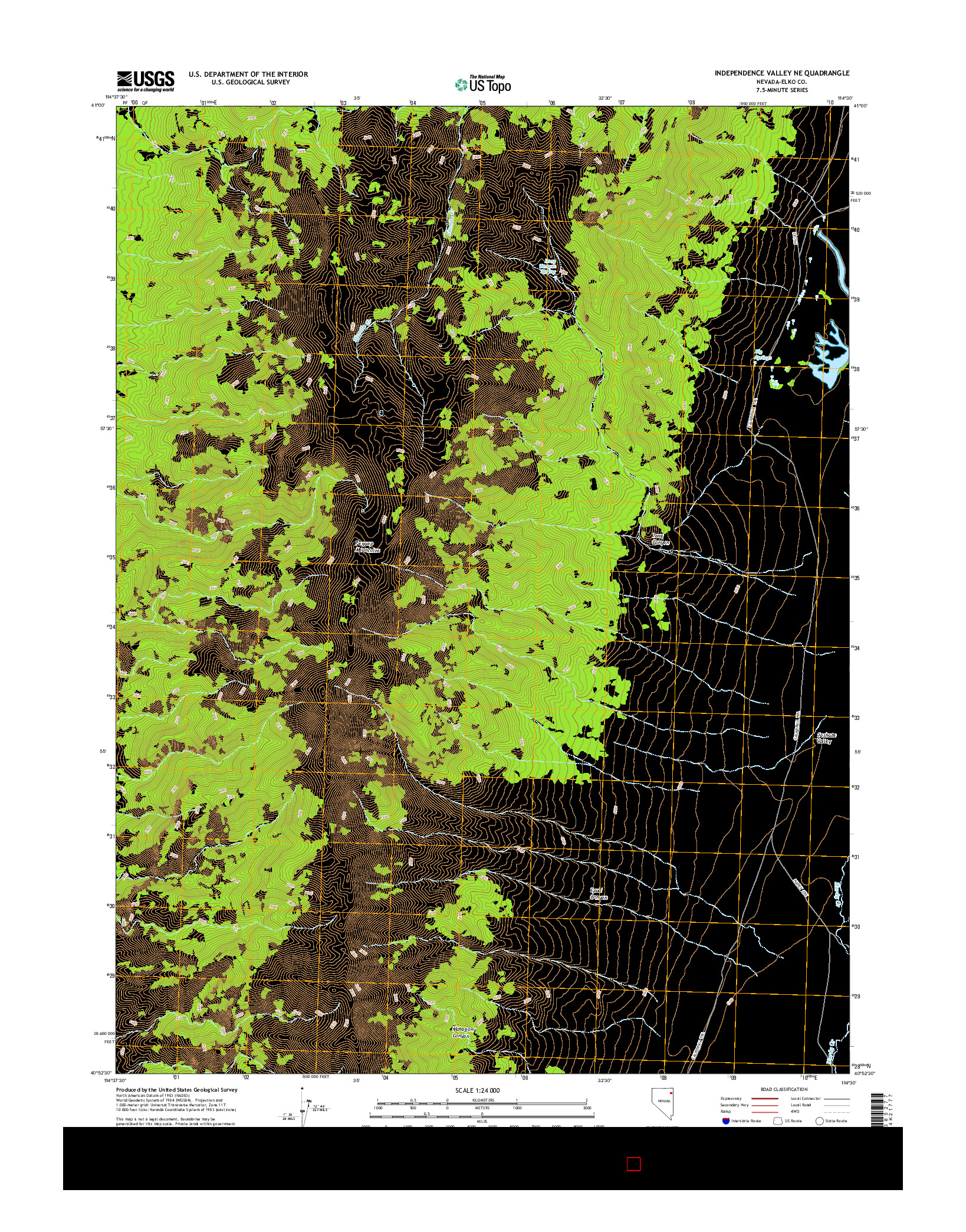 USGS US TOPO 7.5-MINUTE MAP FOR INDEPENDENCE VALLEY NE, NV 2014