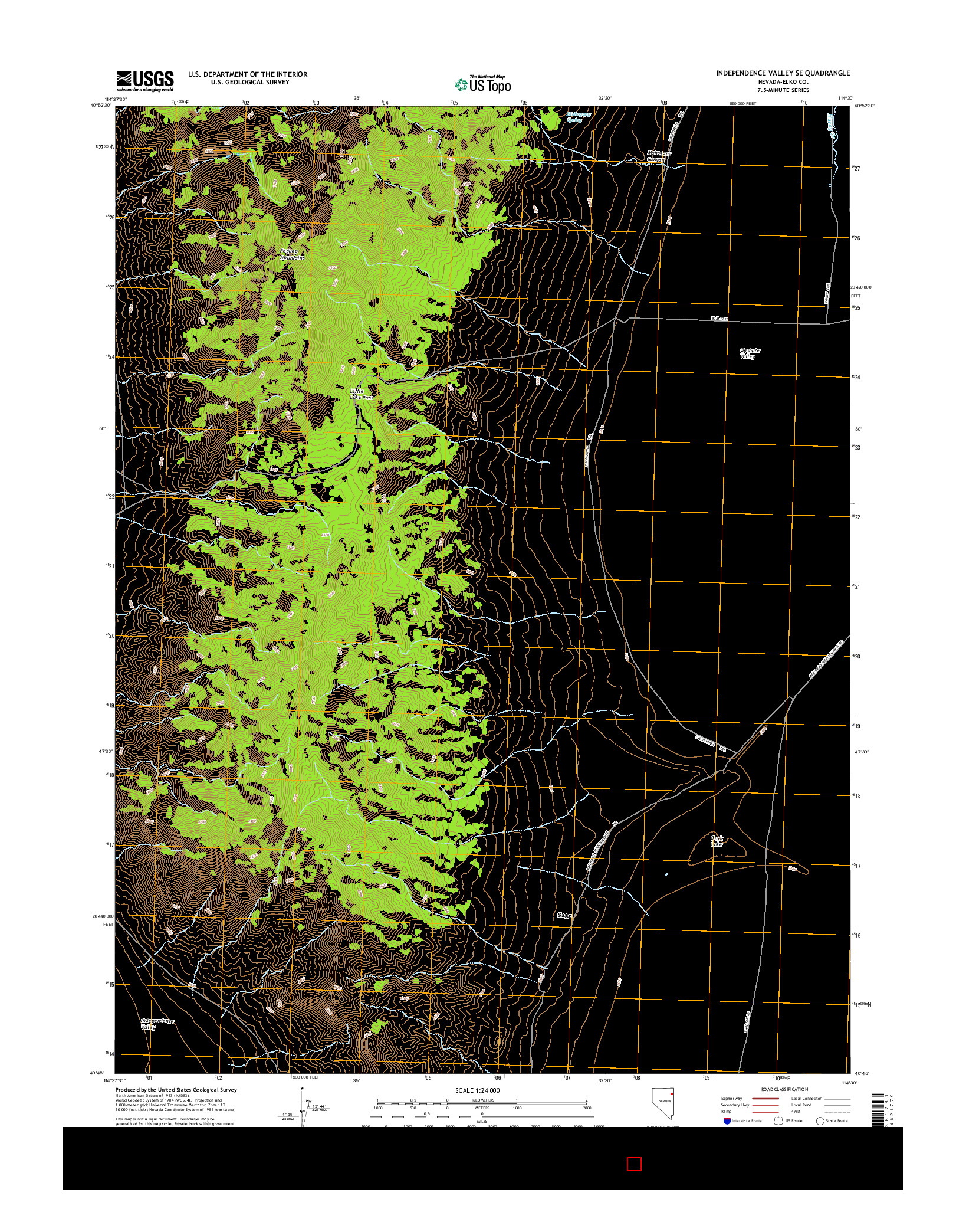USGS US TOPO 7.5-MINUTE MAP FOR INDEPENDENCE VALLEY SE, NV 2014
