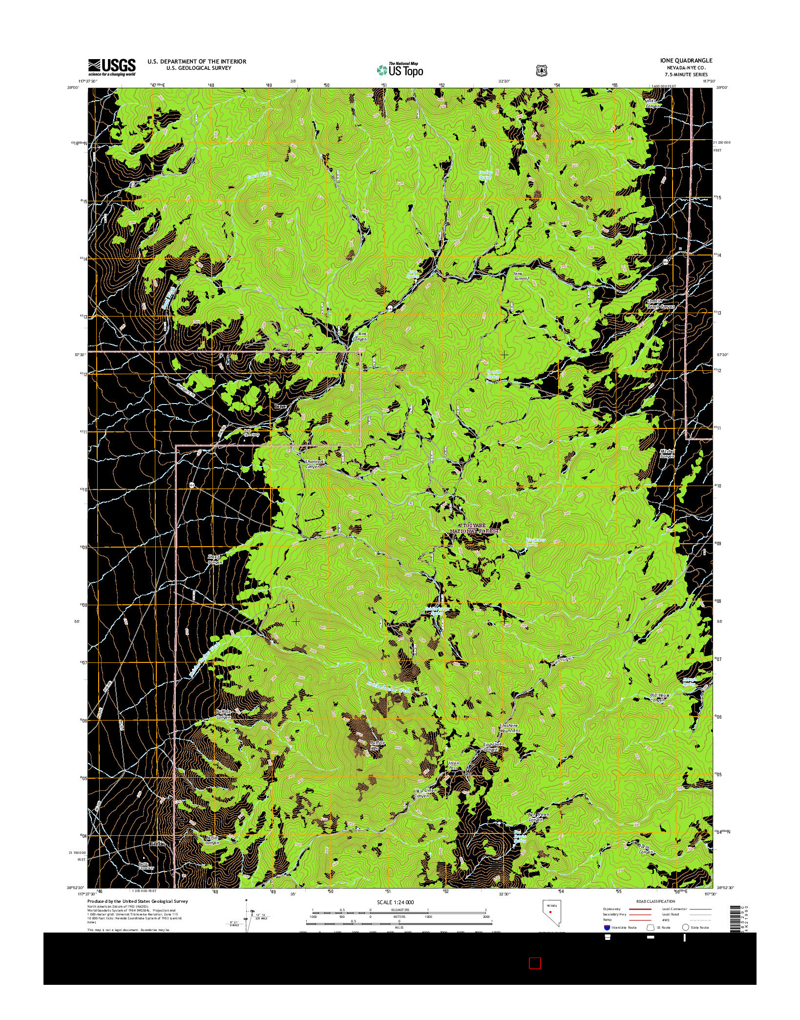 USGS US TOPO 7.5-MINUTE MAP FOR IONE, NV 2014