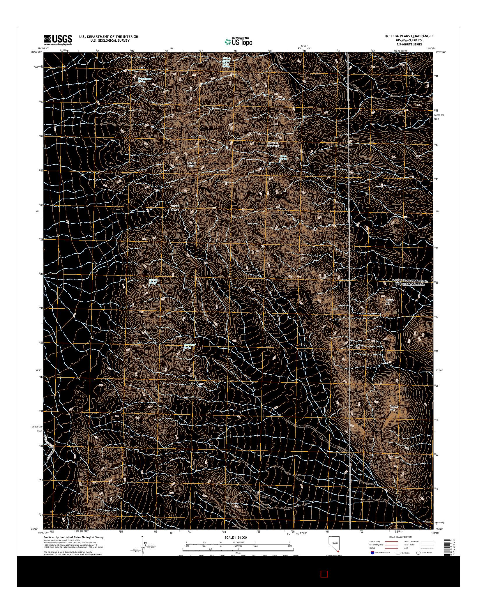 USGS US TOPO 7.5-MINUTE MAP FOR IRETEBA PEAKS, NV 2014