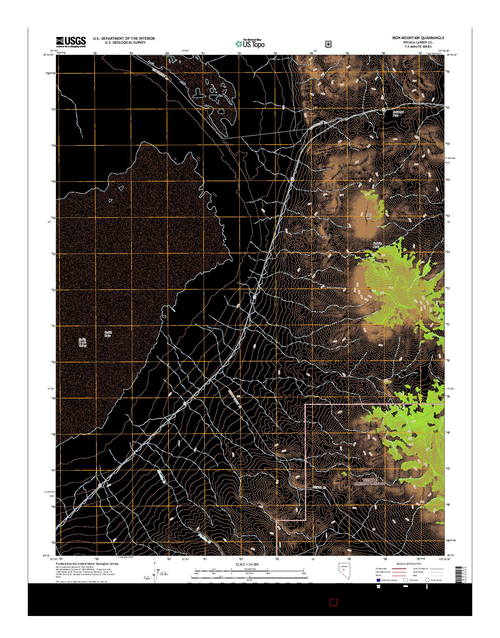 USGS US TOPO 7.5-MINUTE MAP FOR IRON MOUNTAIN, NV 2014