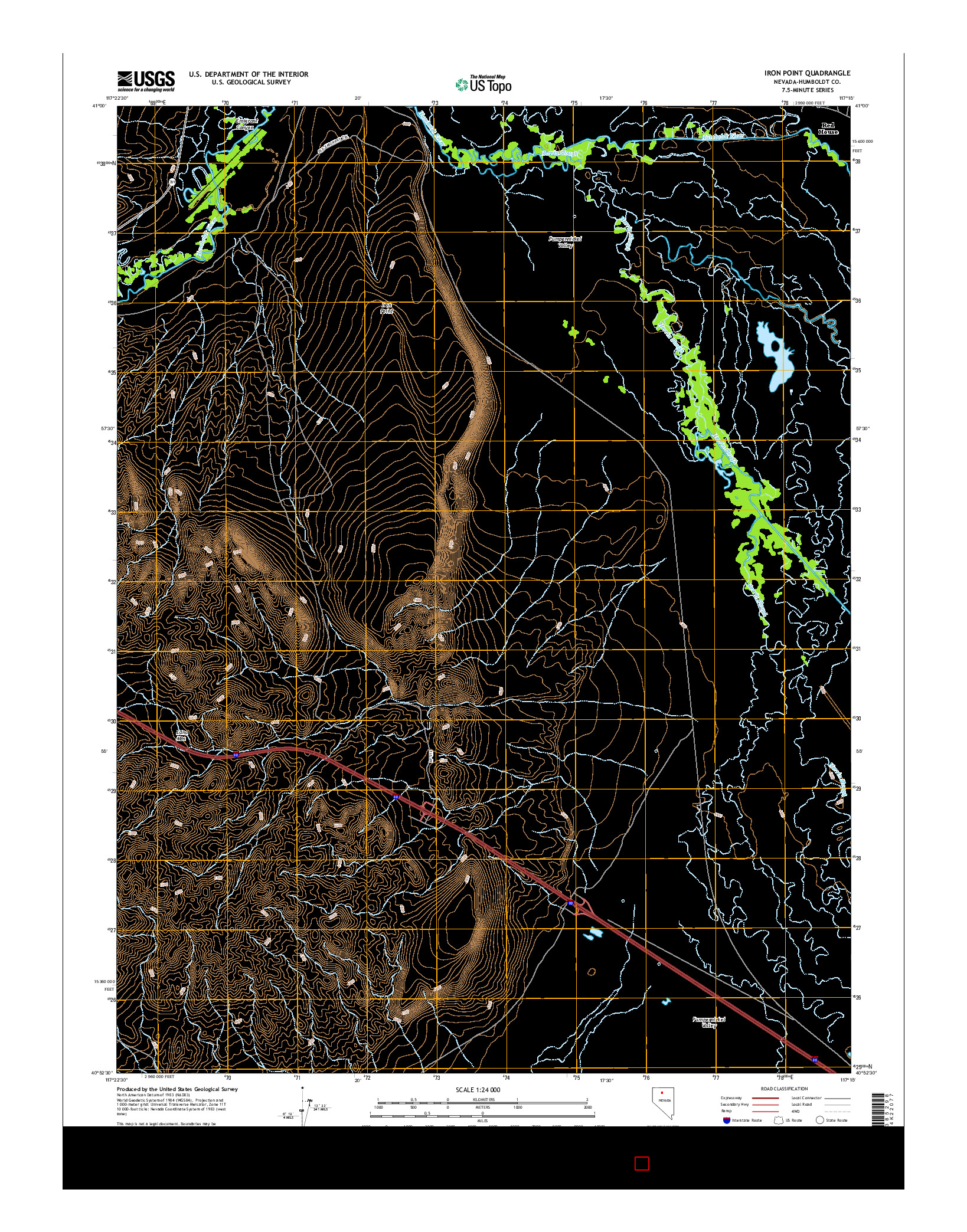 USGS US TOPO 7.5-MINUTE MAP FOR IRON POINT, NV 2014