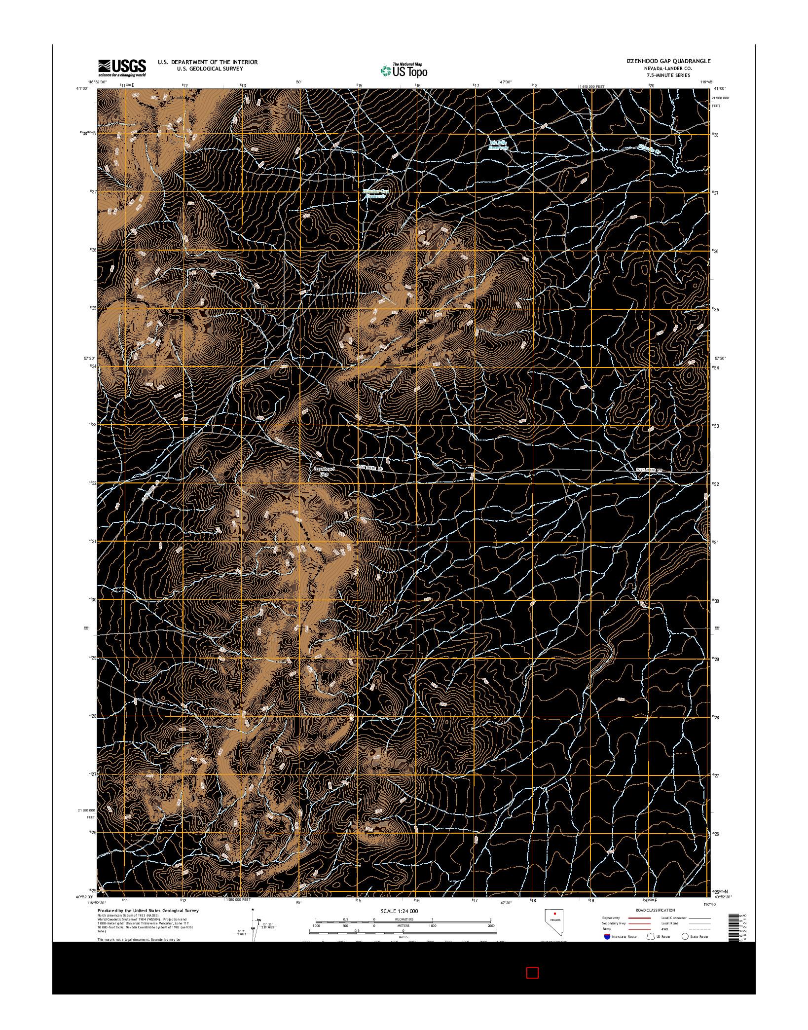 USGS US TOPO 7.5-MINUTE MAP FOR IZZENHOOD GAP, NV 2014