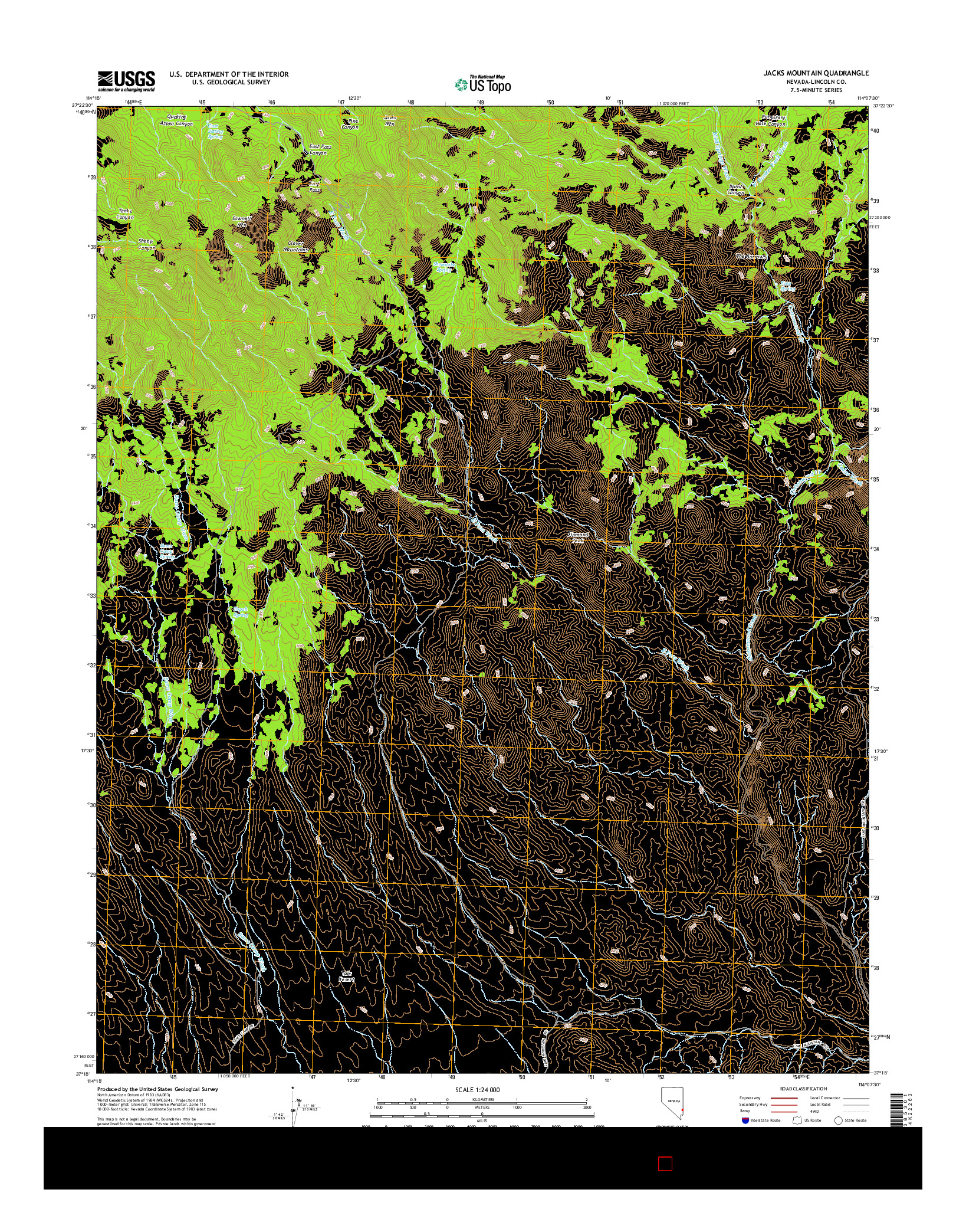 USGS US TOPO 7.5-MINUTE MAP FOR JACKS MOUNTAIN, NV 2014