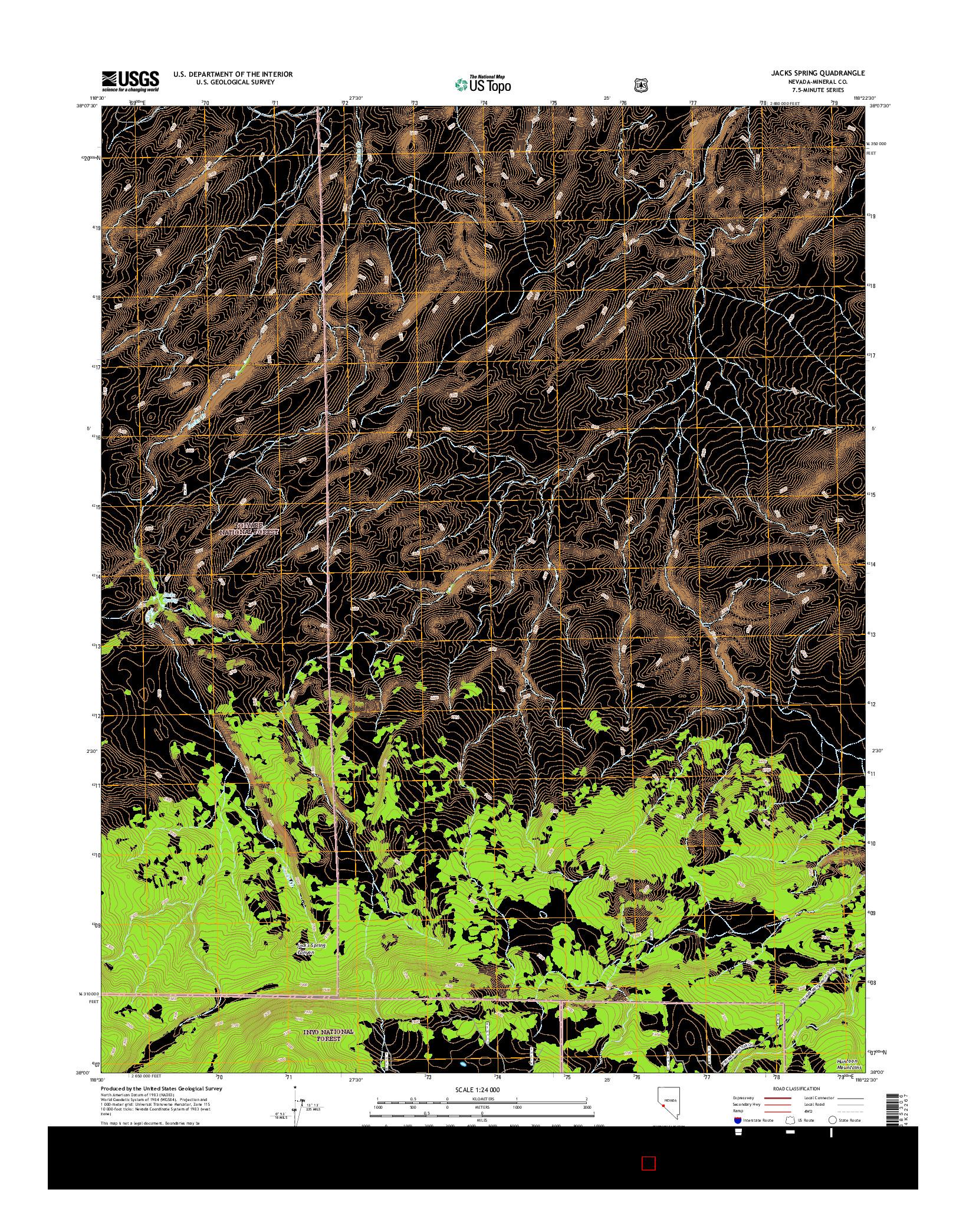 USGS US TOPO 7.5-MINUTE MAP FOR JACKS SPRING, NV 2014