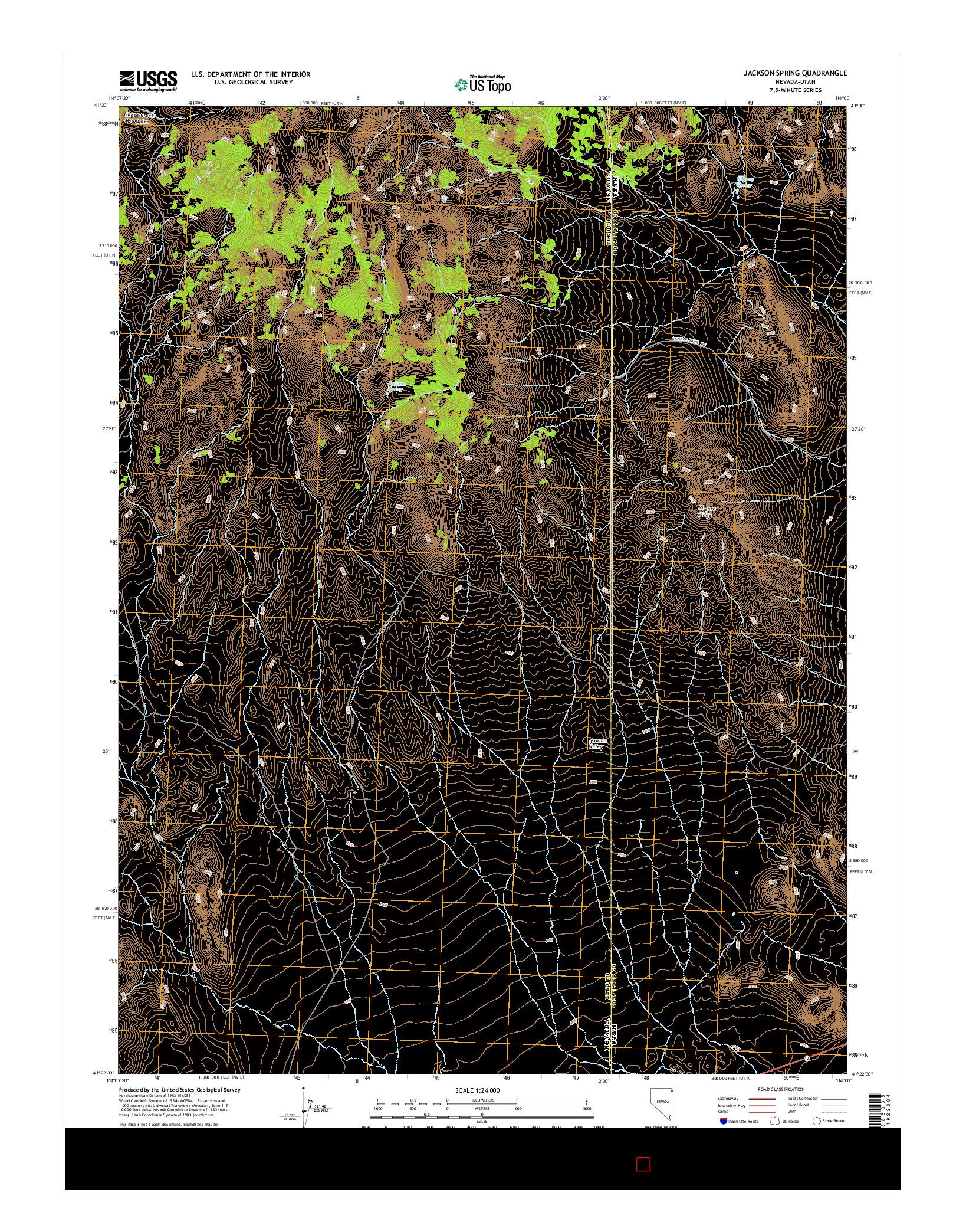 USGS US TOPO 7.5-MINUTE MAP FOR JACKSON SPRING, NV-UT 2014