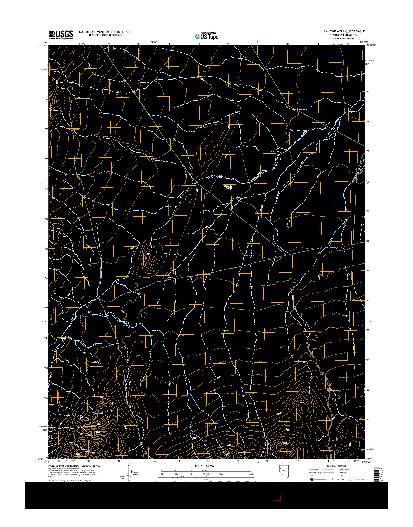 USGS US TOPO 7.5-MINUTE MAP FOR JAYHAWK WELL, NV 2014