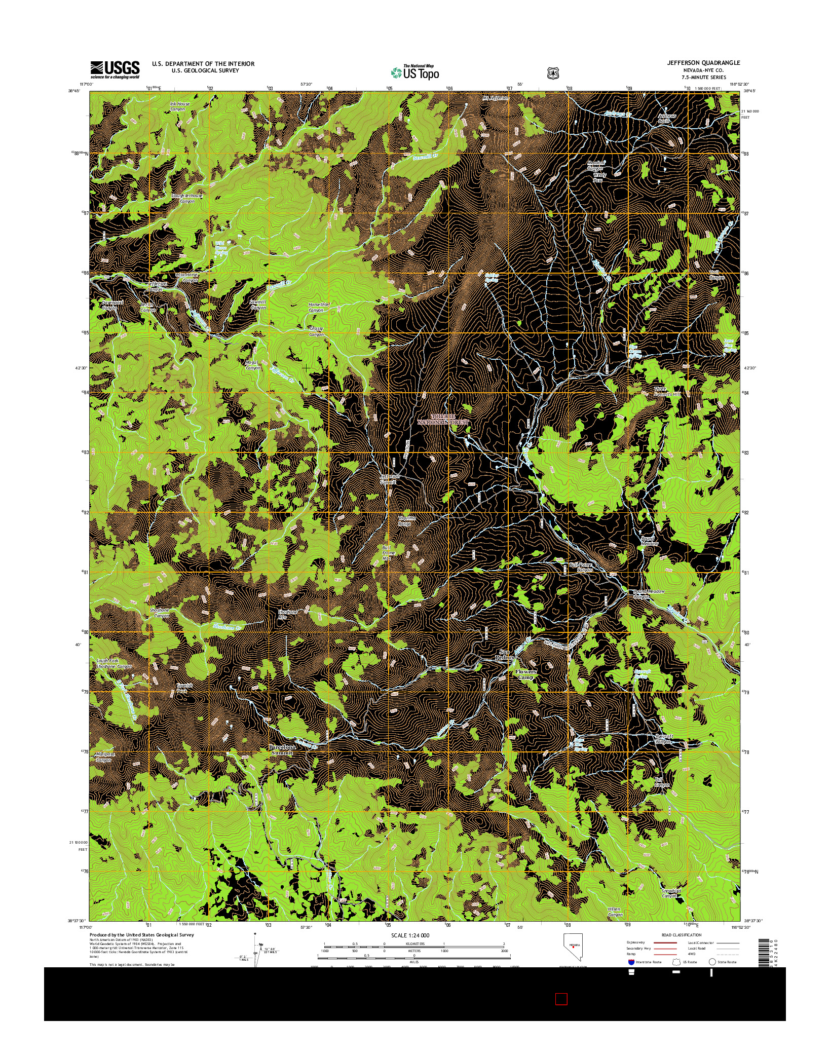 USGS US TOPO 7.5-MINUTE MAP FOR JEFFERSON, NV 2014