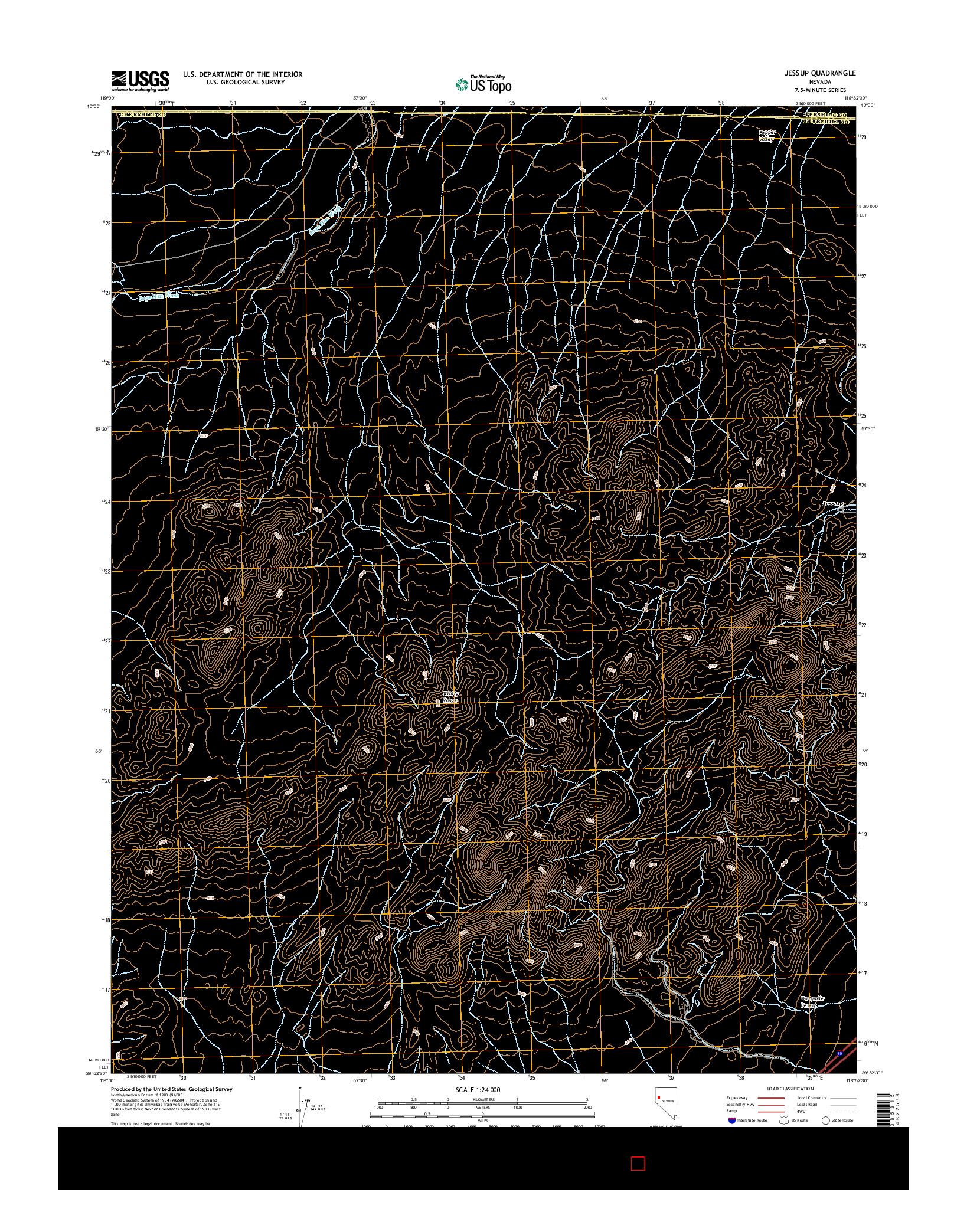 USGS US TOPO 7.5-MINUTE MAP FOR JESSUP, NV 2014