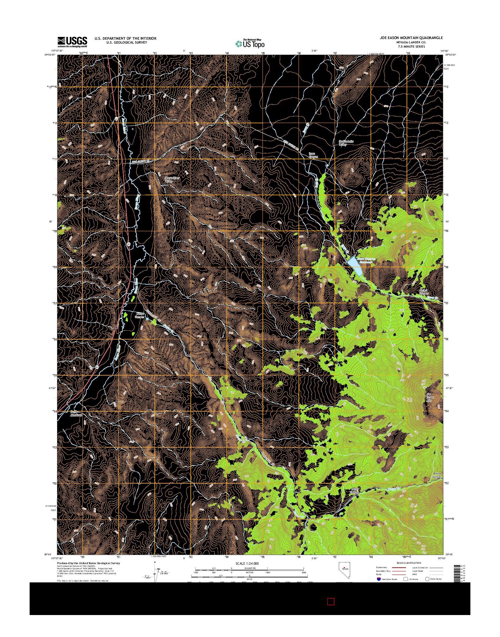 USGS US TOPO 7.5-MINUTE MAP FOR JOE EASON MOUNTAIN, NV 2014