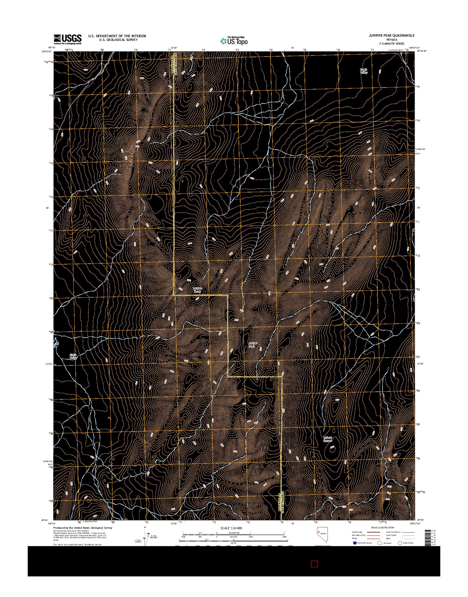 USGS US TOPO 7.5-MINUTE MAP FOR JUNIPER PEAK, NV 2014