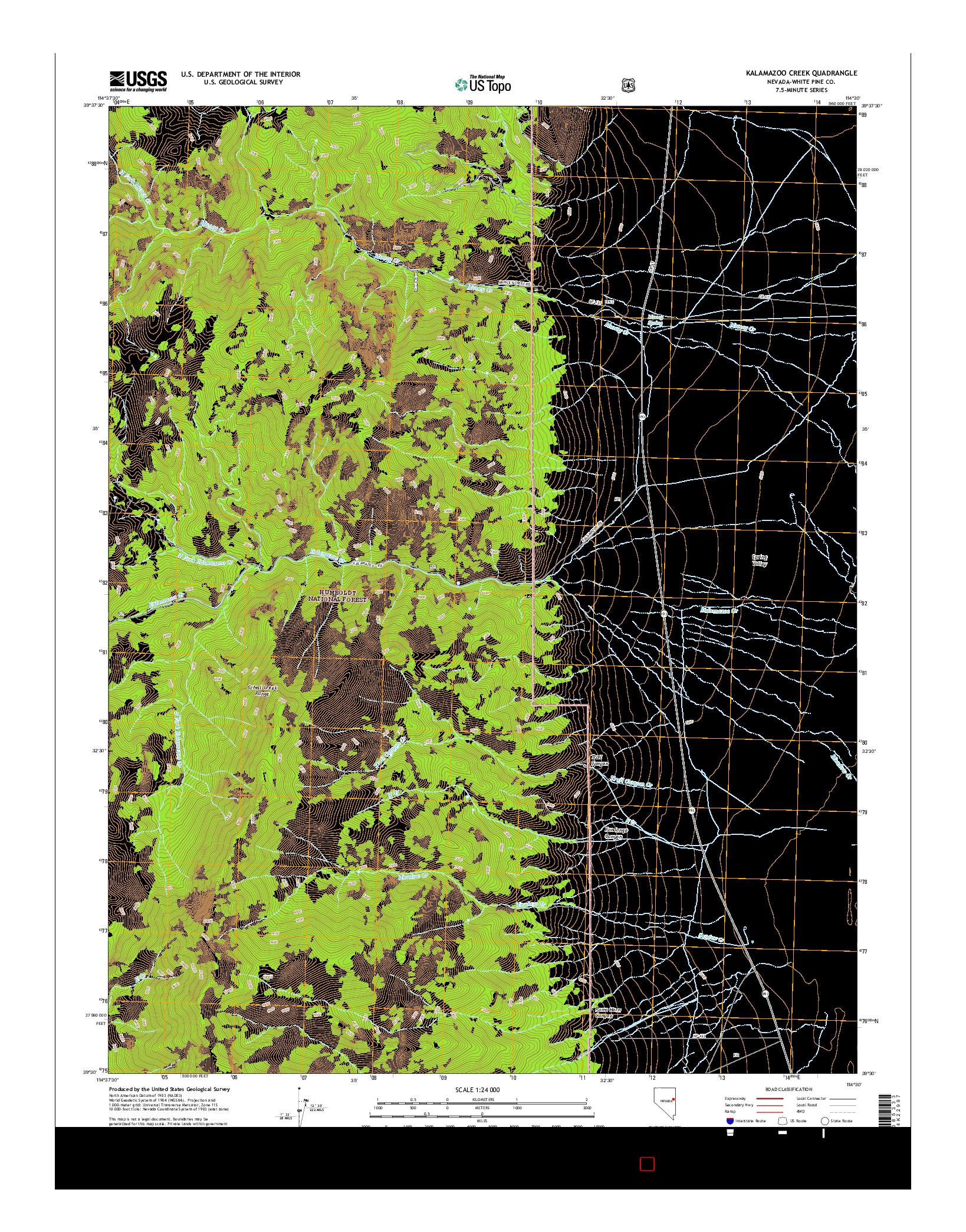 USGS US TOPO 7.5-MINUTE MAP FOR KALAMAZOO CREEK, NV 2014
