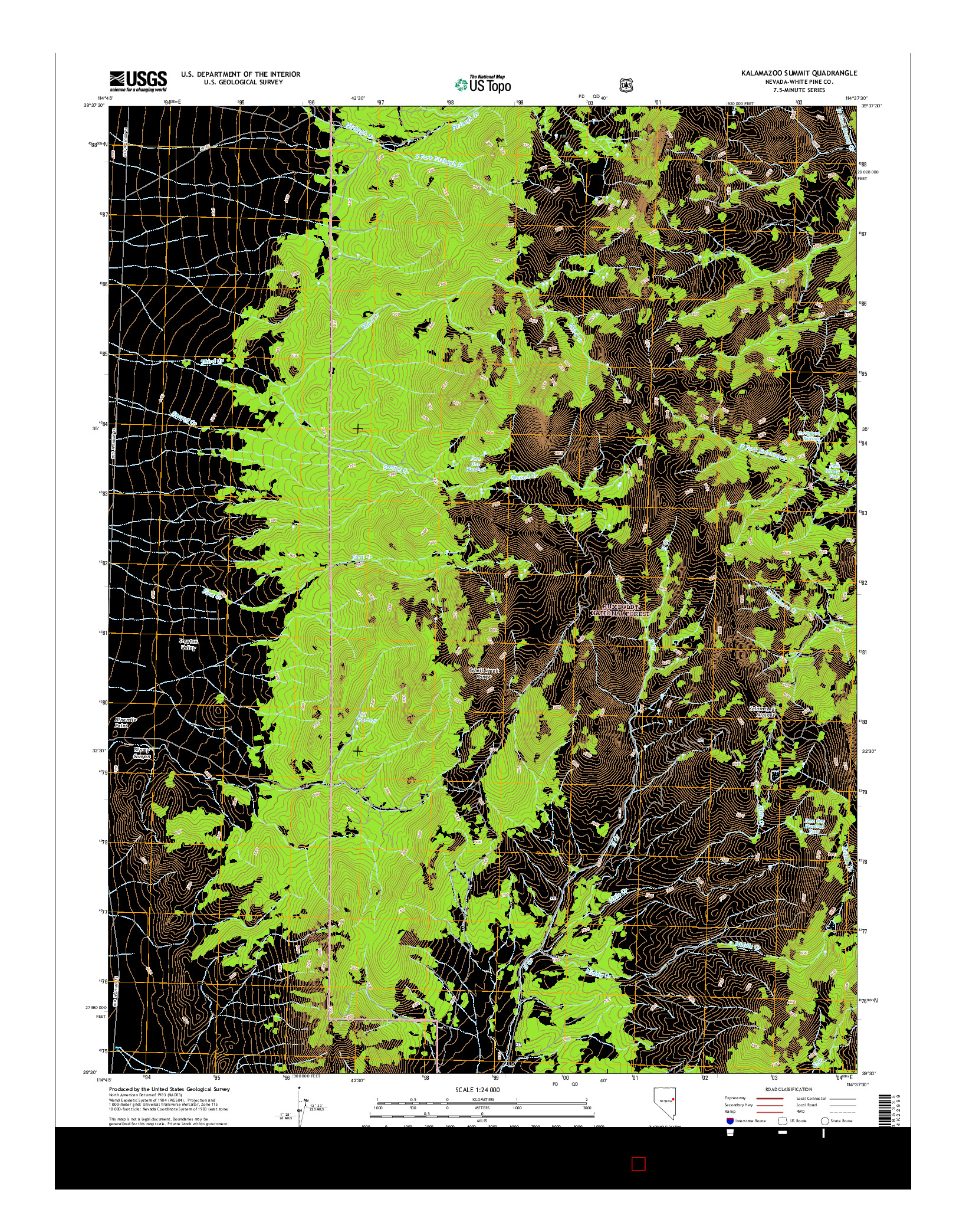 USGS US TOPO 7.5-MINUTE MAP FOR KALAMAZOO SUMMIT, NV 2014