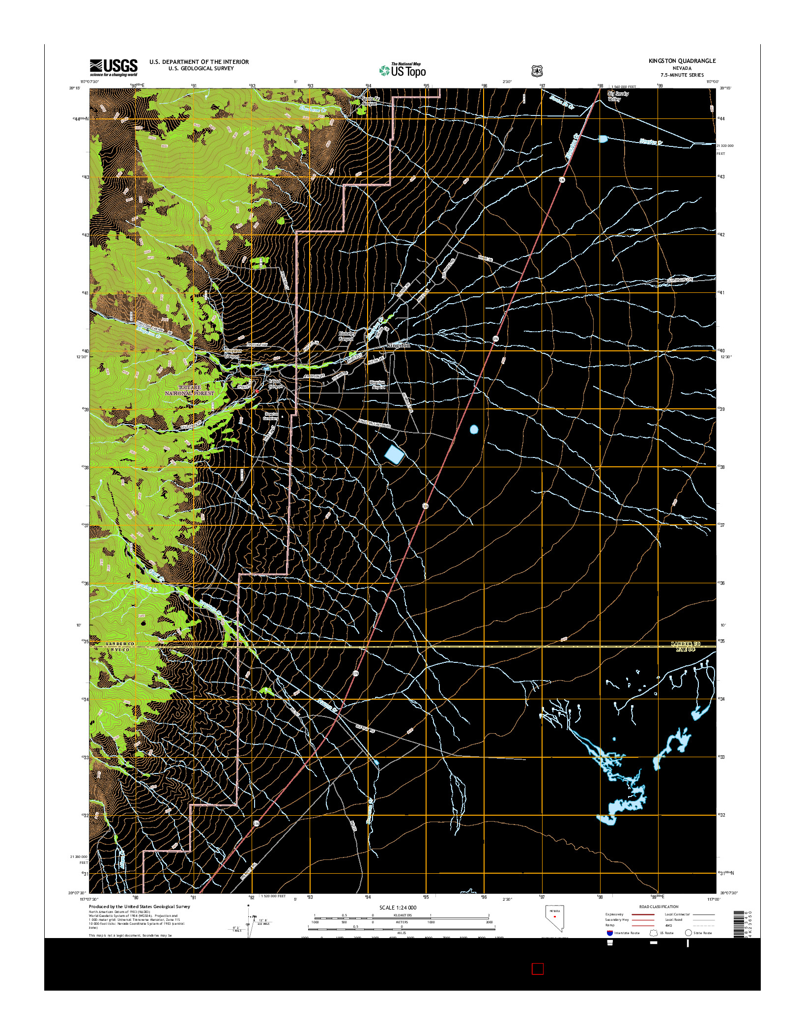 USGS US TOPO 7.5-MINUTE MAP FOR KINGSTON, NV 2014