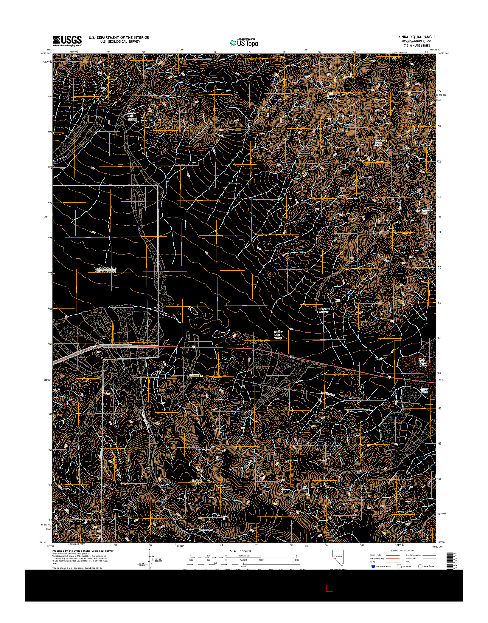 USGS US TOPO 7.5-MINUTE MAP FOR KINKAID, NV 2014