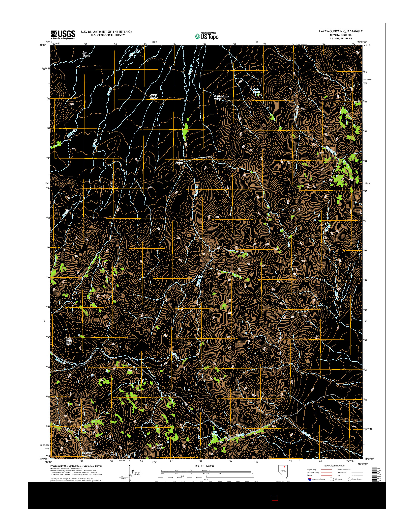 USGS US TOPO 7.5-MINUTE MAP FOR LAKE MOUNTAIN, NV 2014