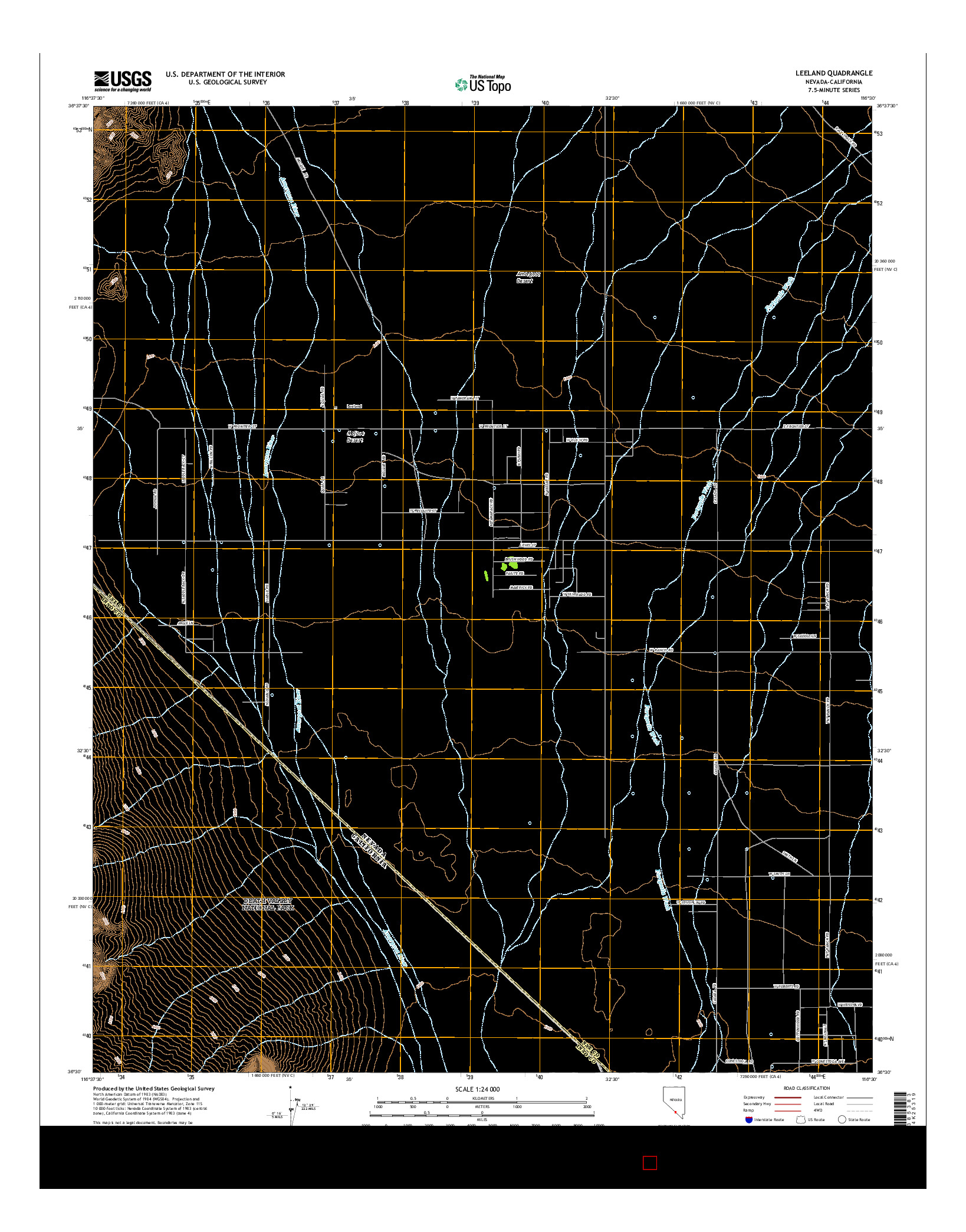 USGS US TOPO 7.5-MINUTE MAP FOR LEELAND, NV-CA 2014