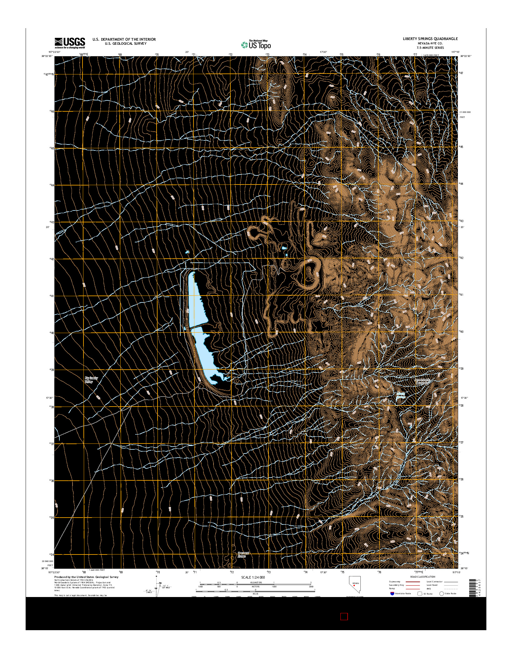 USGS US TOPO 7.5-MINUTE MAP FOR LIBERTY SPRINGS, NV 2014