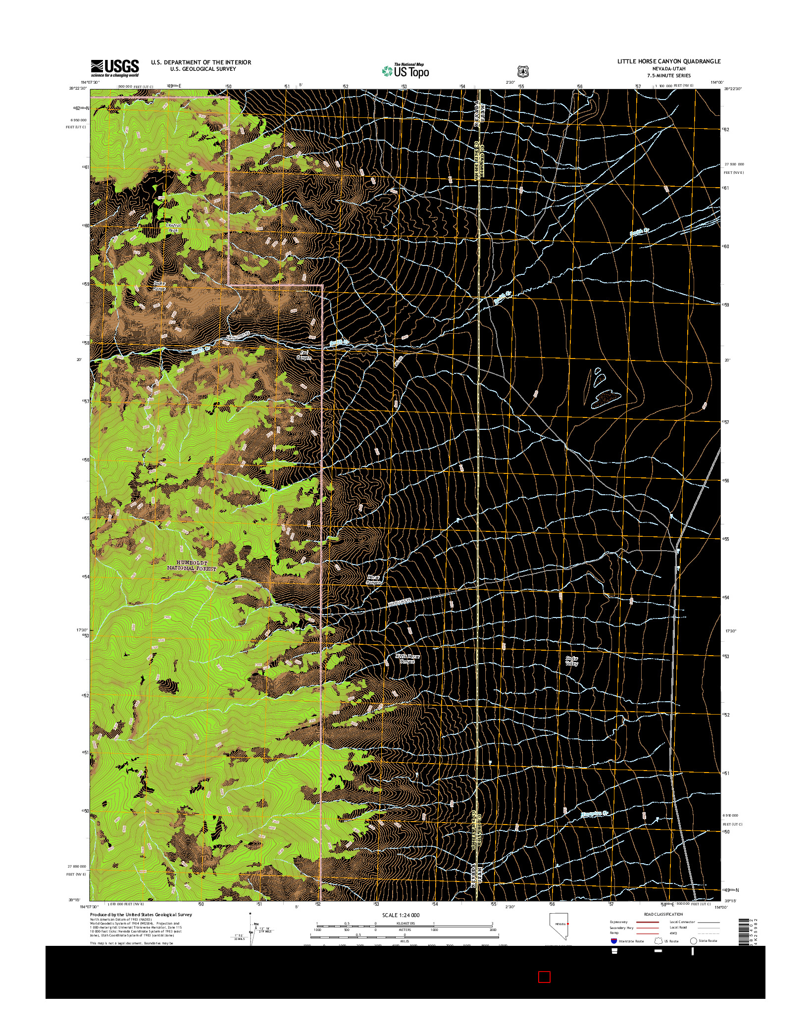 USGS US TOPO 7.5-MINUTE MAP FOR LITTLE HORSE CANYON, NV-UT 2014