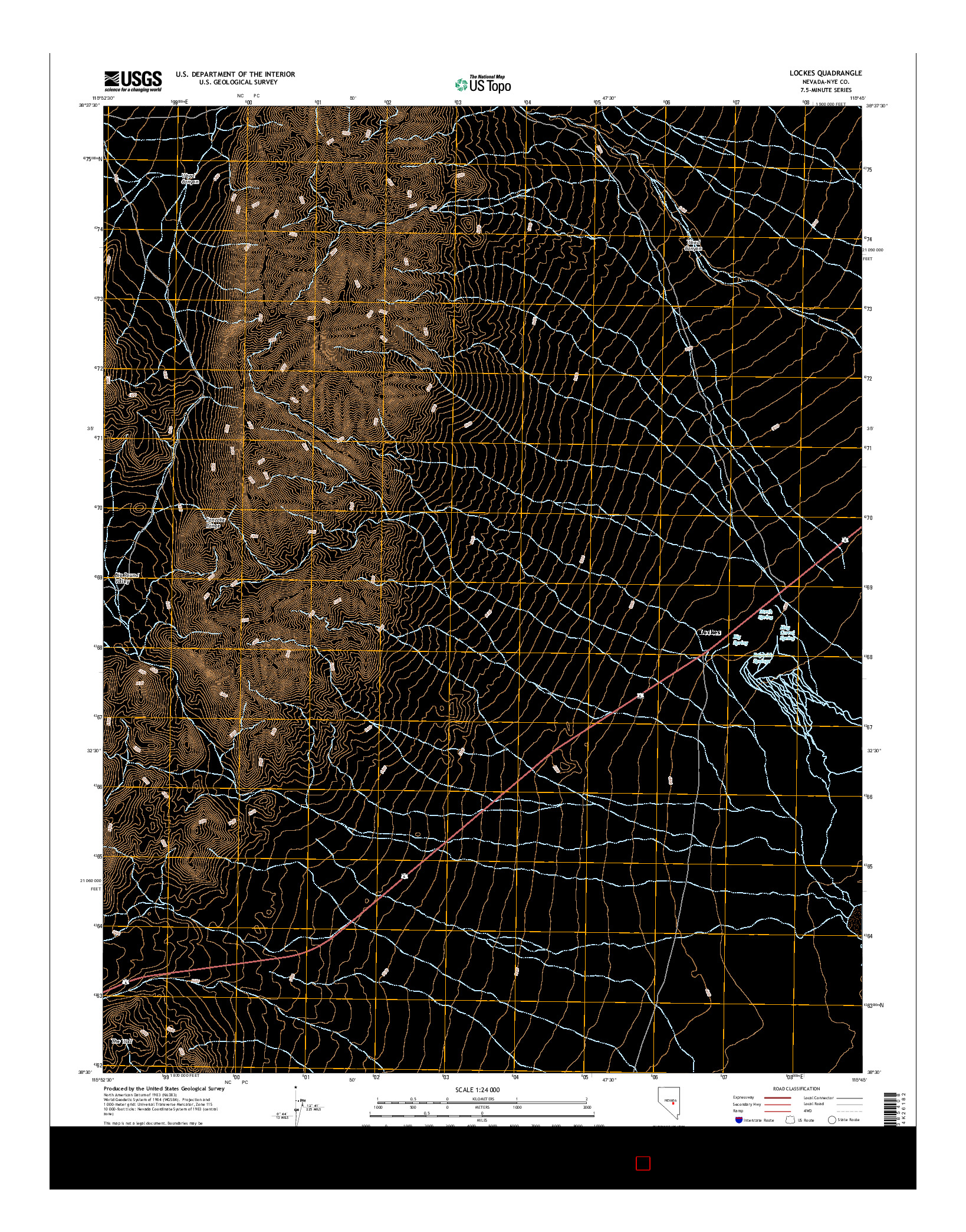 USGS US TOPO 7.5-MINUTE MAP FOR LOCKES, NV 2014