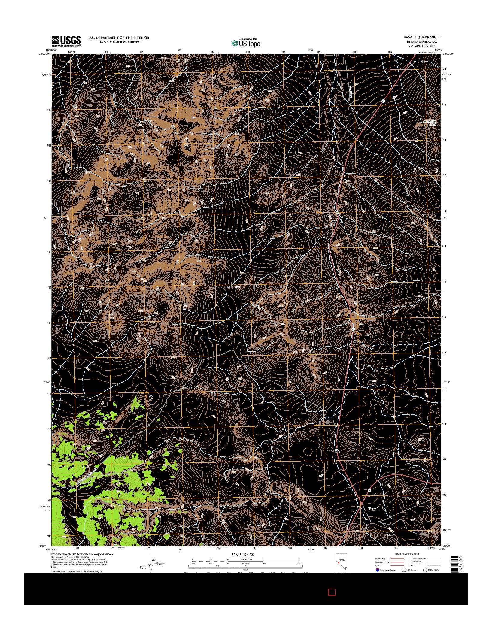 USGS US TOPO 7.5-MINUTE MAP FOR BASALT, NV 2014