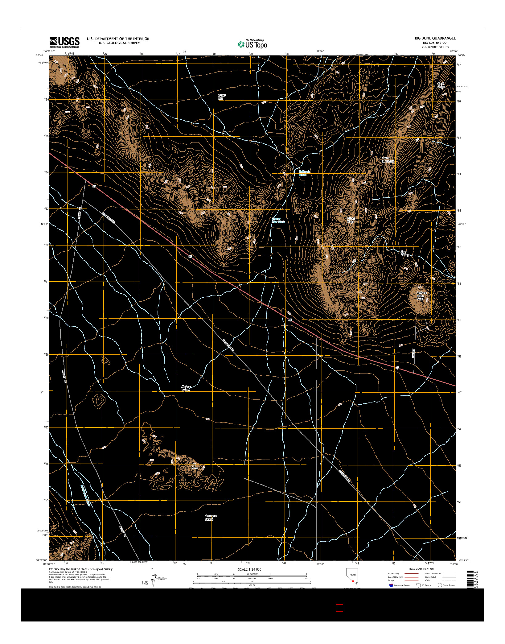 USGS US TOPO 7.5-MINUTE MAP FOR BIG DUNE, NV 2014