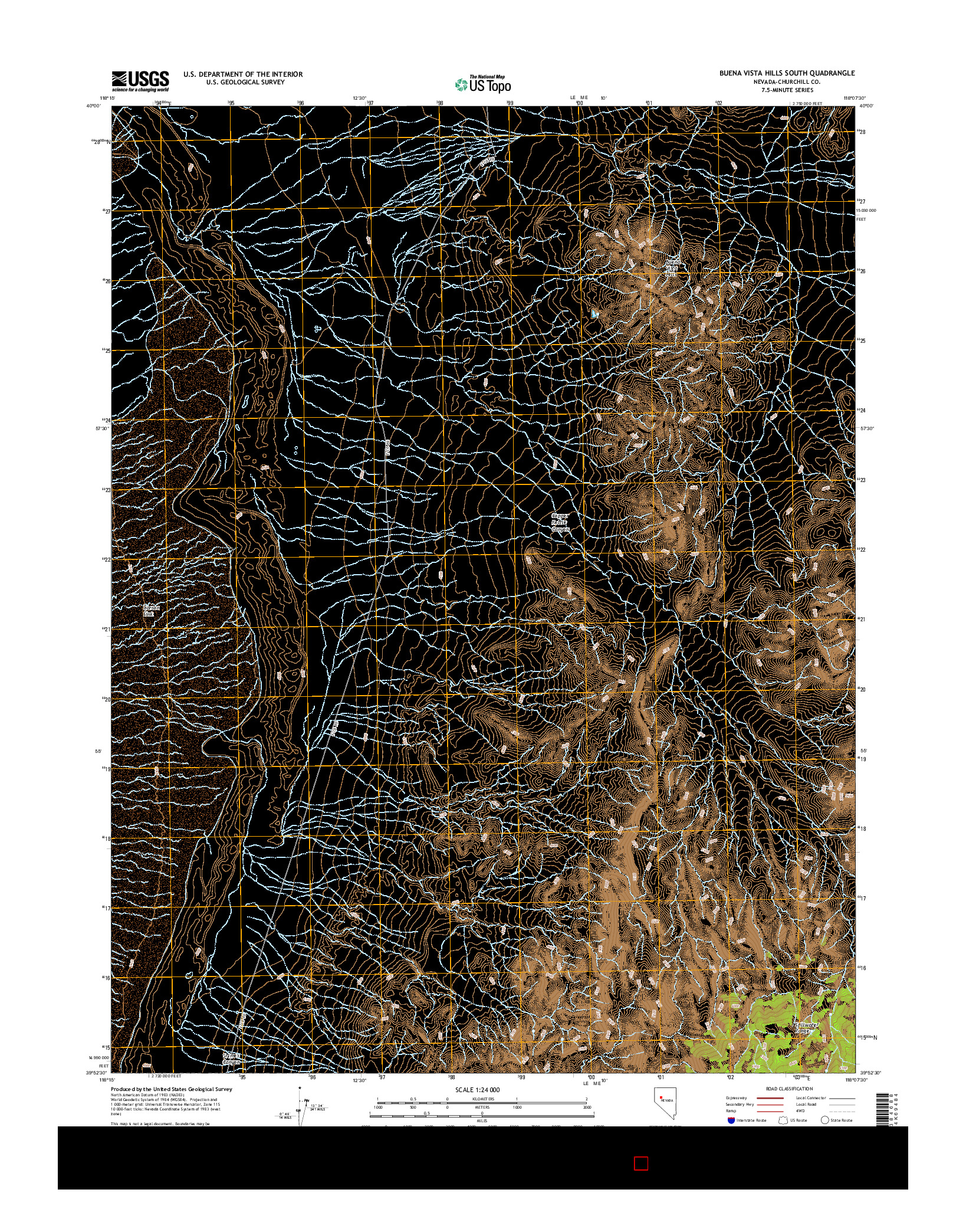 USGS US TOPO 7.5-MINUTE MAP FOR BUENA VISTA HILLS SOUTH, NV 2014