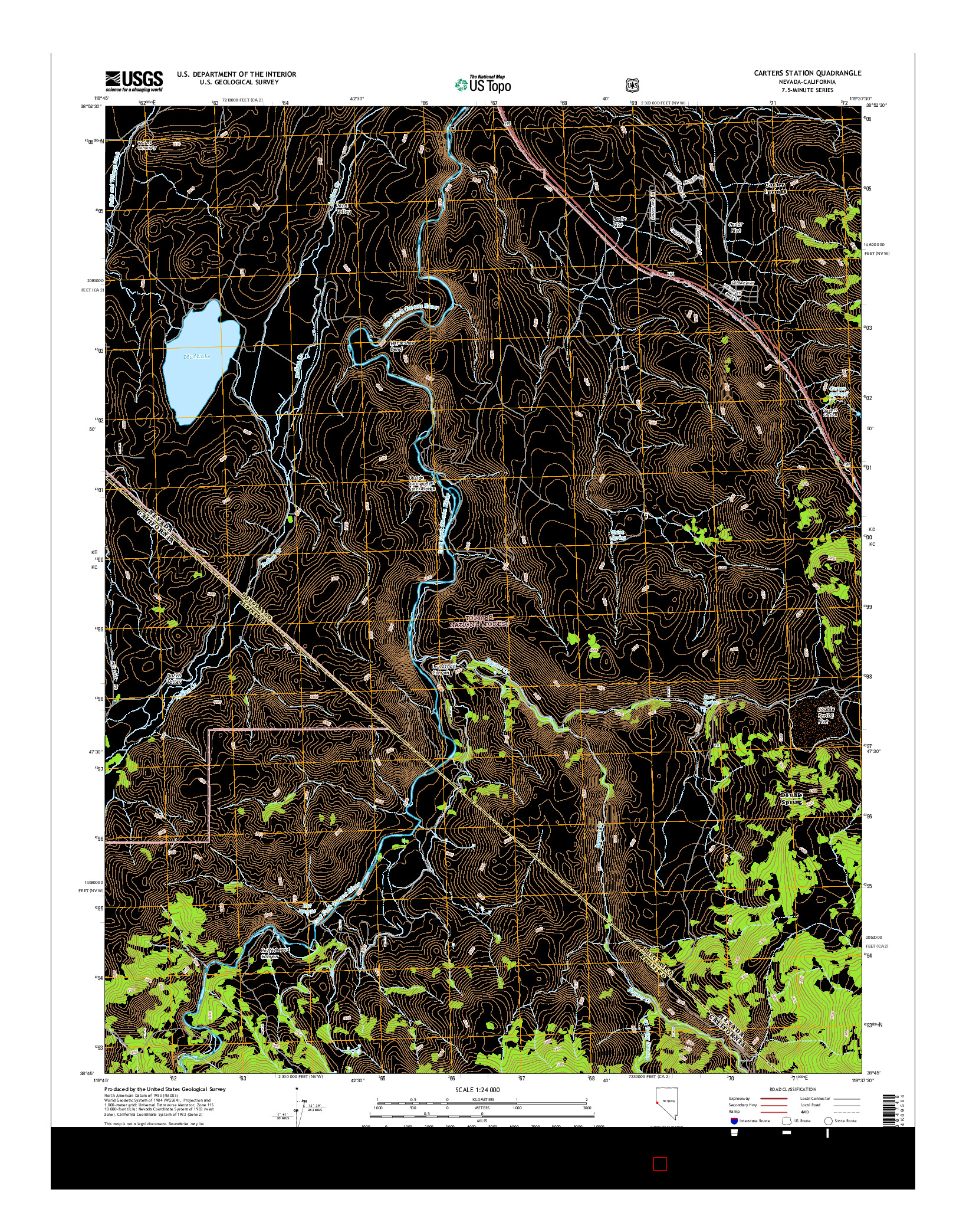 USGS US TOPO 7.5-MINUTE MAP FOR CARTERS STATION, NV-CA 2014
