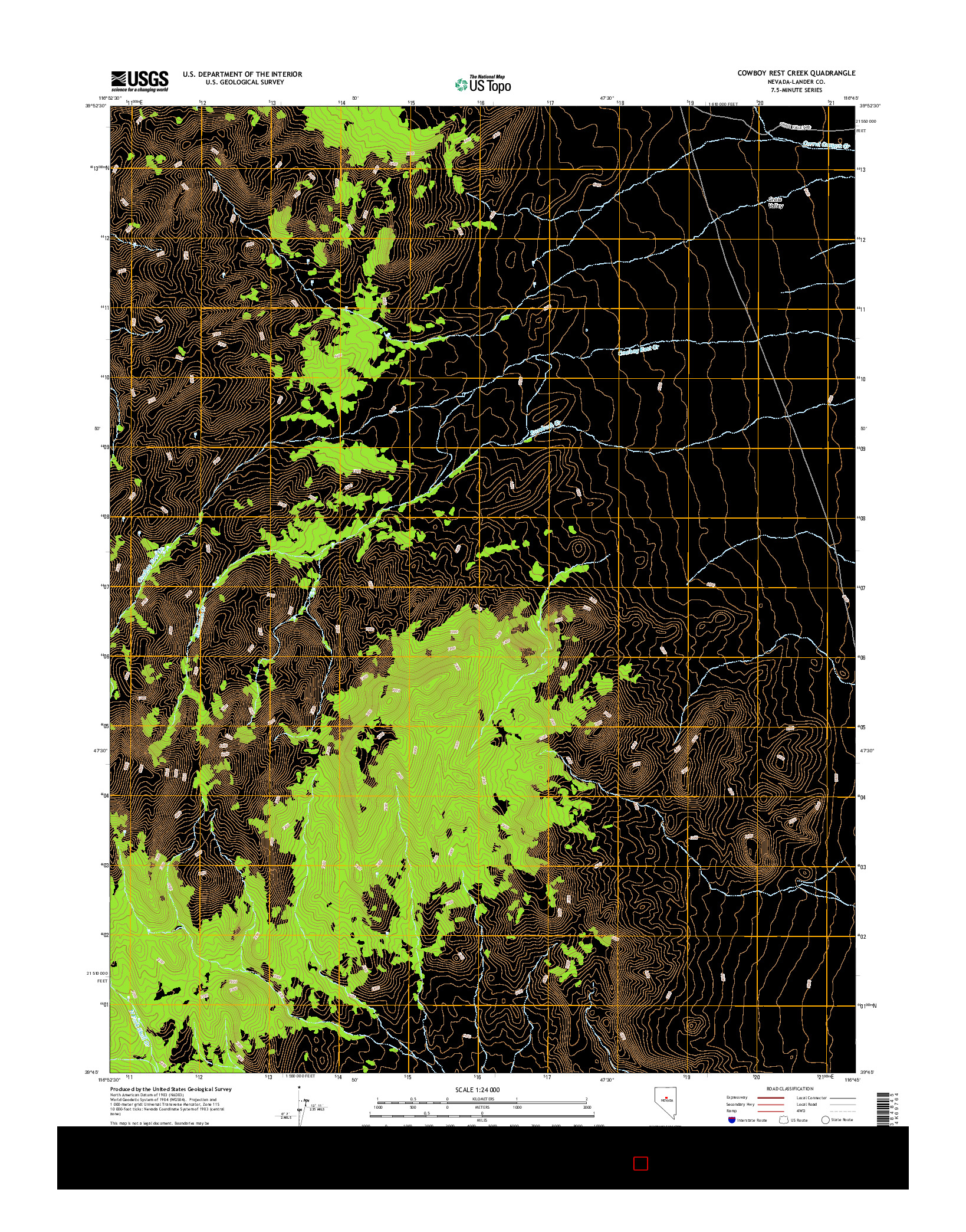 USGS US TOPO 7.5-MINUTE MAP FOR COWBOY REST CREEK, NV 2014
