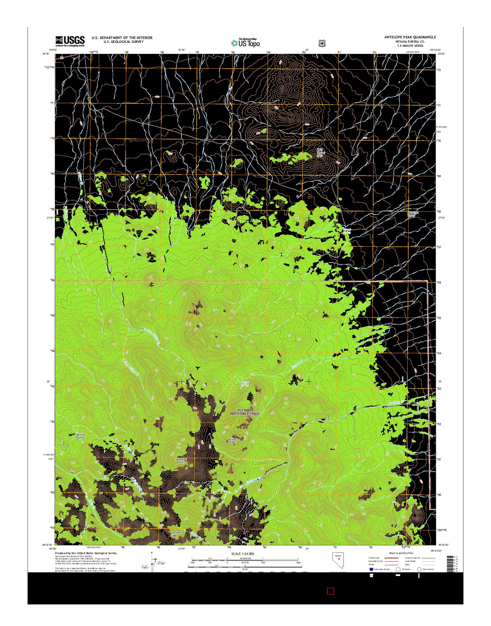USGS US TOPO 7.5-MINUTE MAP FOR ANTELOPE PEAK, NV 2014