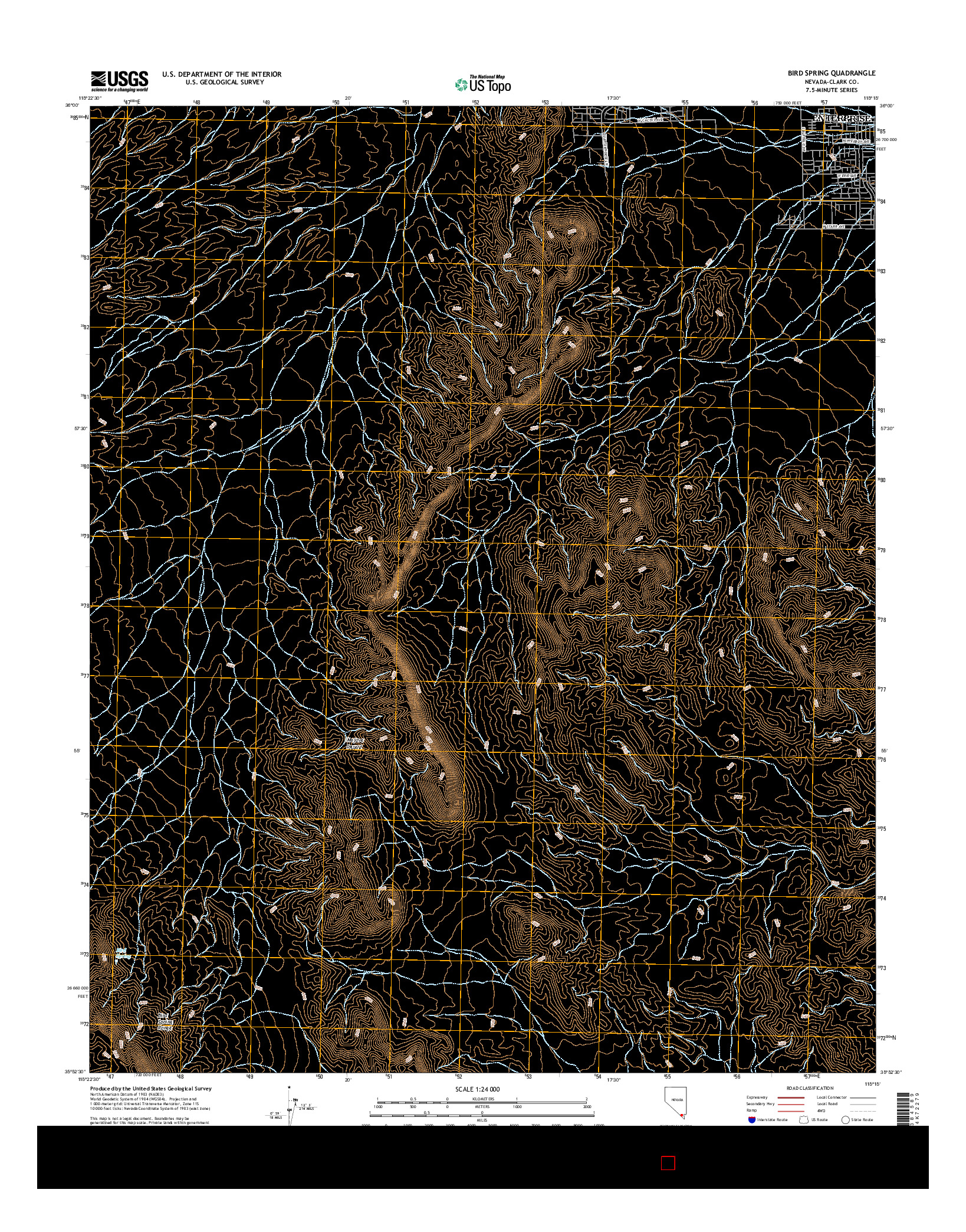 USGS US TOPO 7.5-MINUTE MAP FOR BIRD SPRING, NV 2014