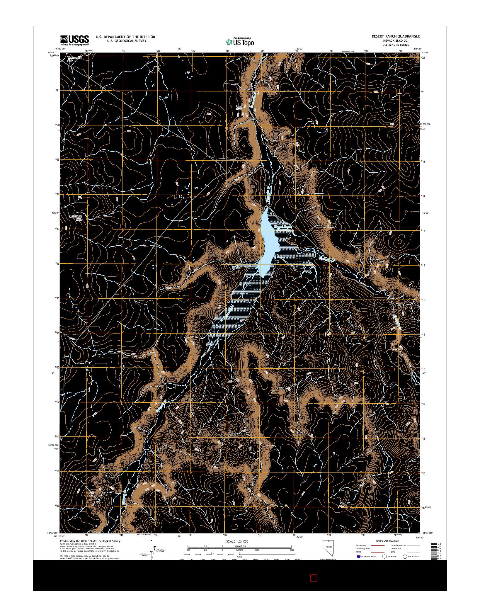 USGS US TOPO 7.5-MINUTE MAP FOR DESERT RANCH, NV 2014