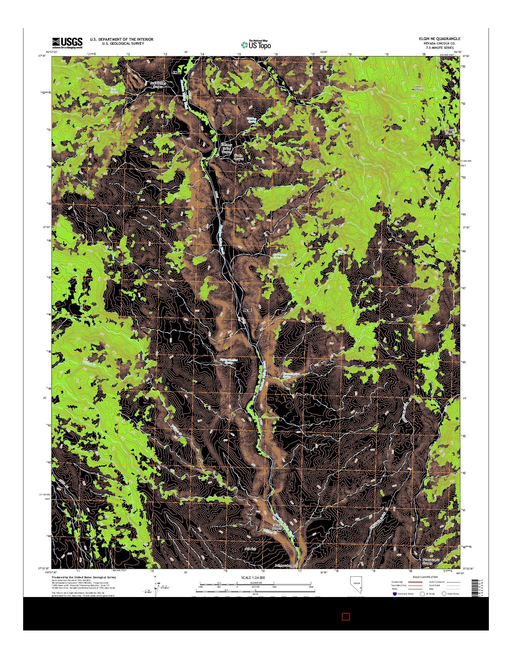 USGS US TOPO 7.5-MINUTE MAP FOR ELGIN NE, NV 2014