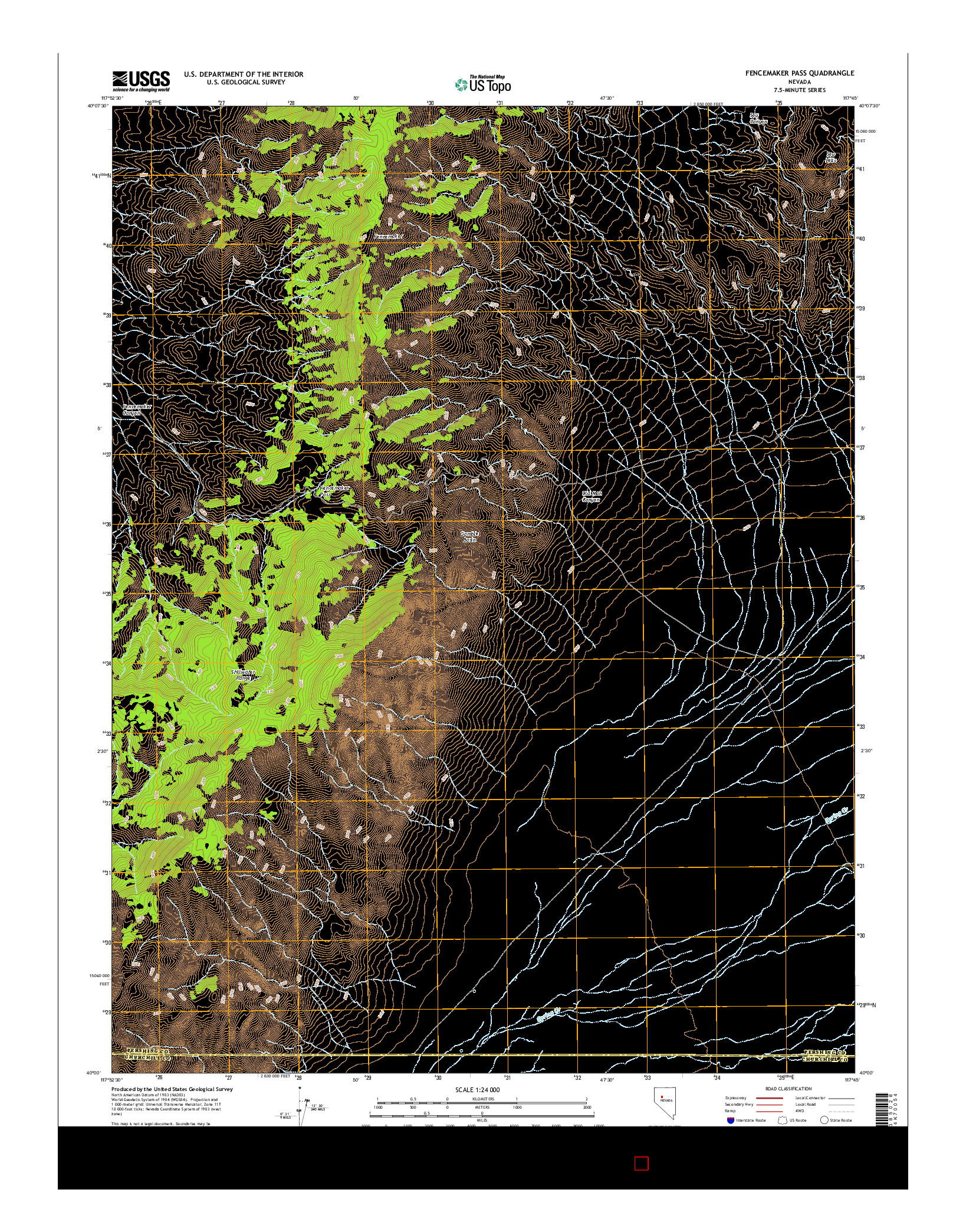 USGS US TOPO 7.5-MINUTE MAP FOR FENCEMAKER PASS, NV 2014