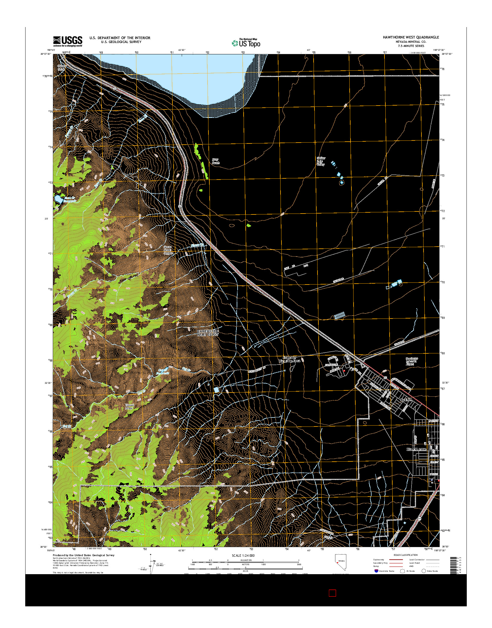 USGS US TOPO 7.5-MINUTE MAP FOR HAWTHORNE WEST, NV 2014