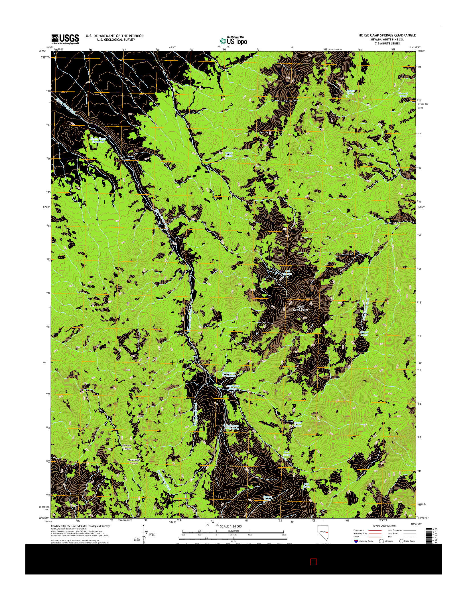 USGS US TOPO 7.5-MINUTE MAP FOR HORSE CAMP SPRINGS, NV 2014