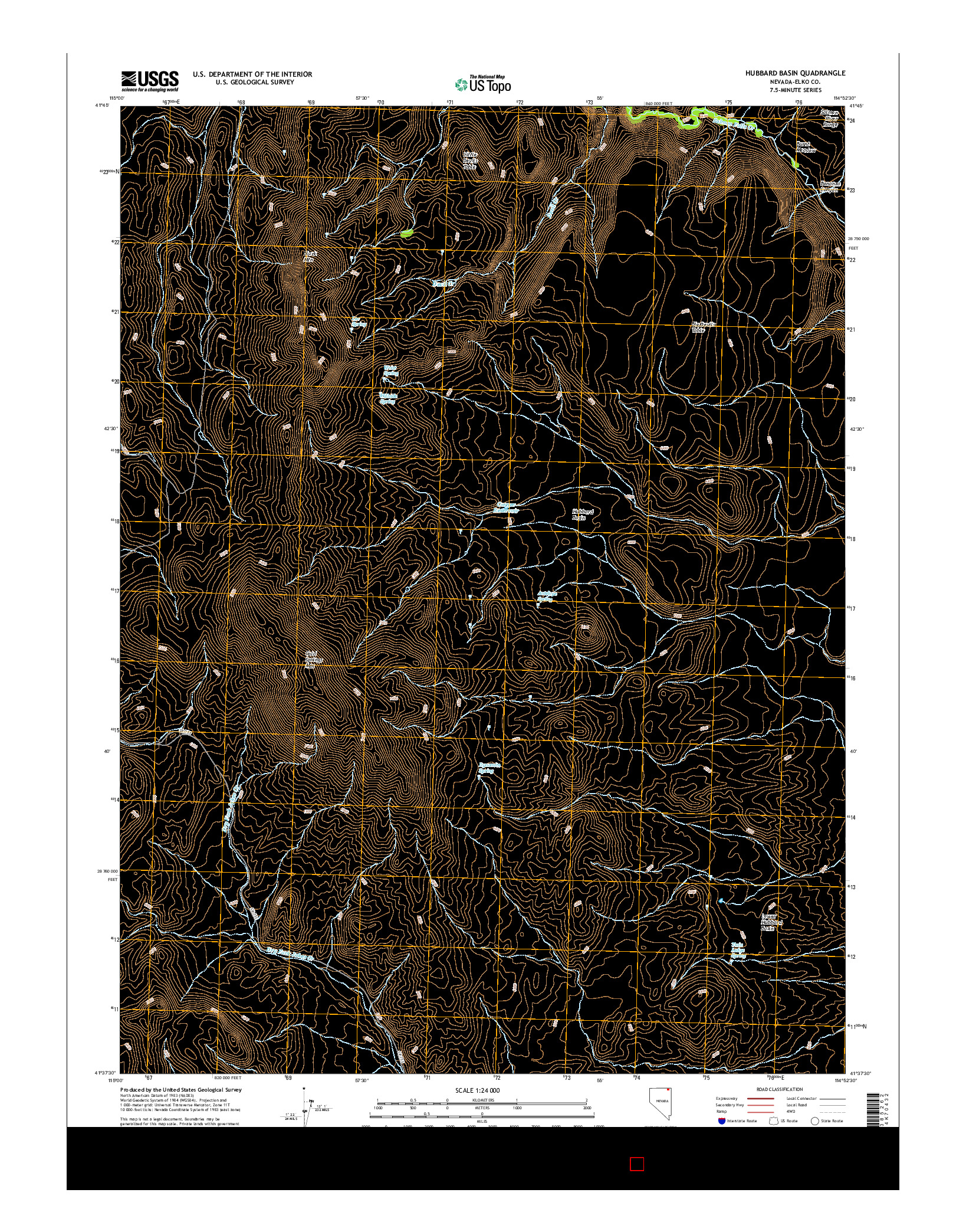 USGS US TOPO 7.5-MINUTE MAP FOR HUBBARD BASIN, NV 2014