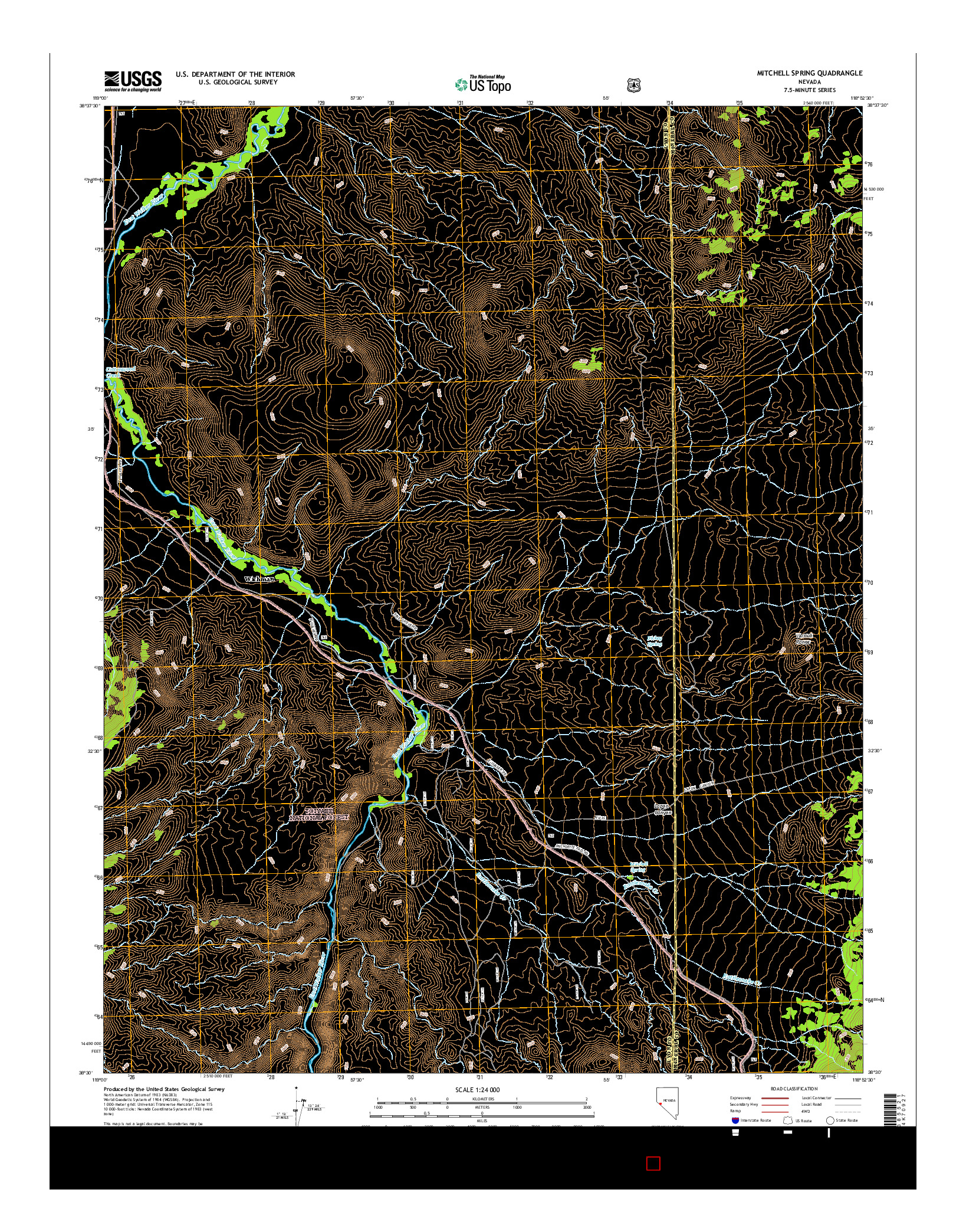 USGS US TOPO 7.5-MINUTE MAP FOR MITCHELL SPRING, NV 2014
