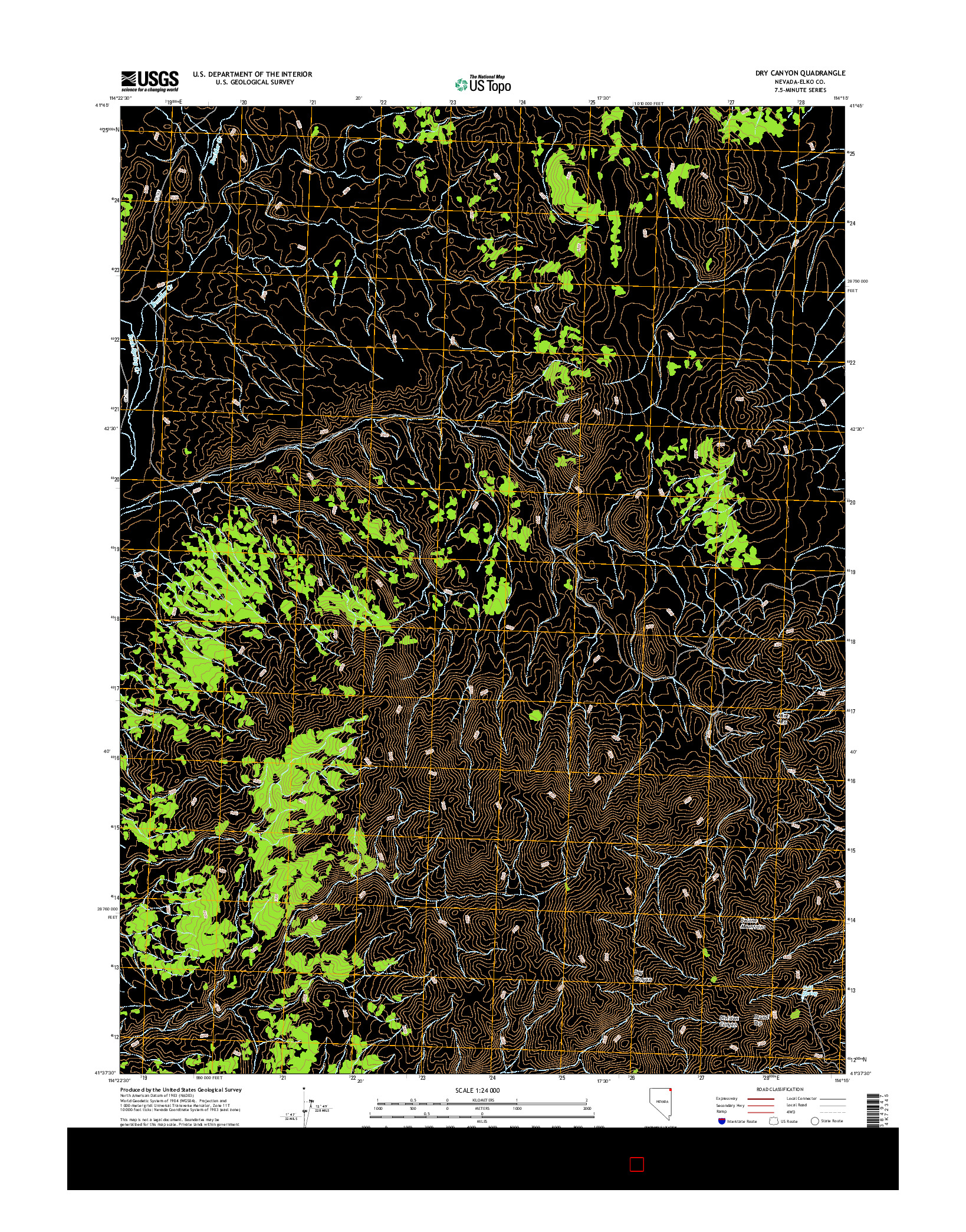 USGS US TOPO 7.5-MINUTE MAP FOR DRY CANYON, NV 2014