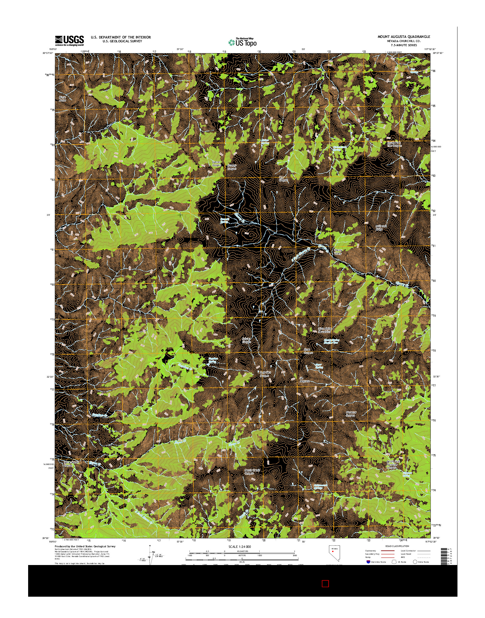 USGS US TOPO 7.5-MINUTE MAP FOR MOUNT AUGUSTA, NV 2014