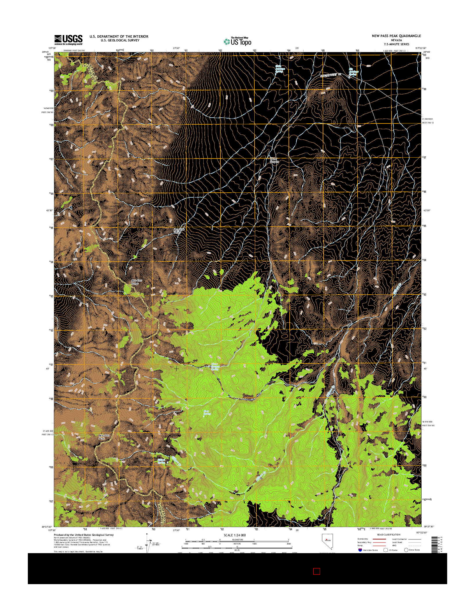 USGS US TOPO 7.5-MINUTE MAP FOR NEW PASS PEAK, NV 2014