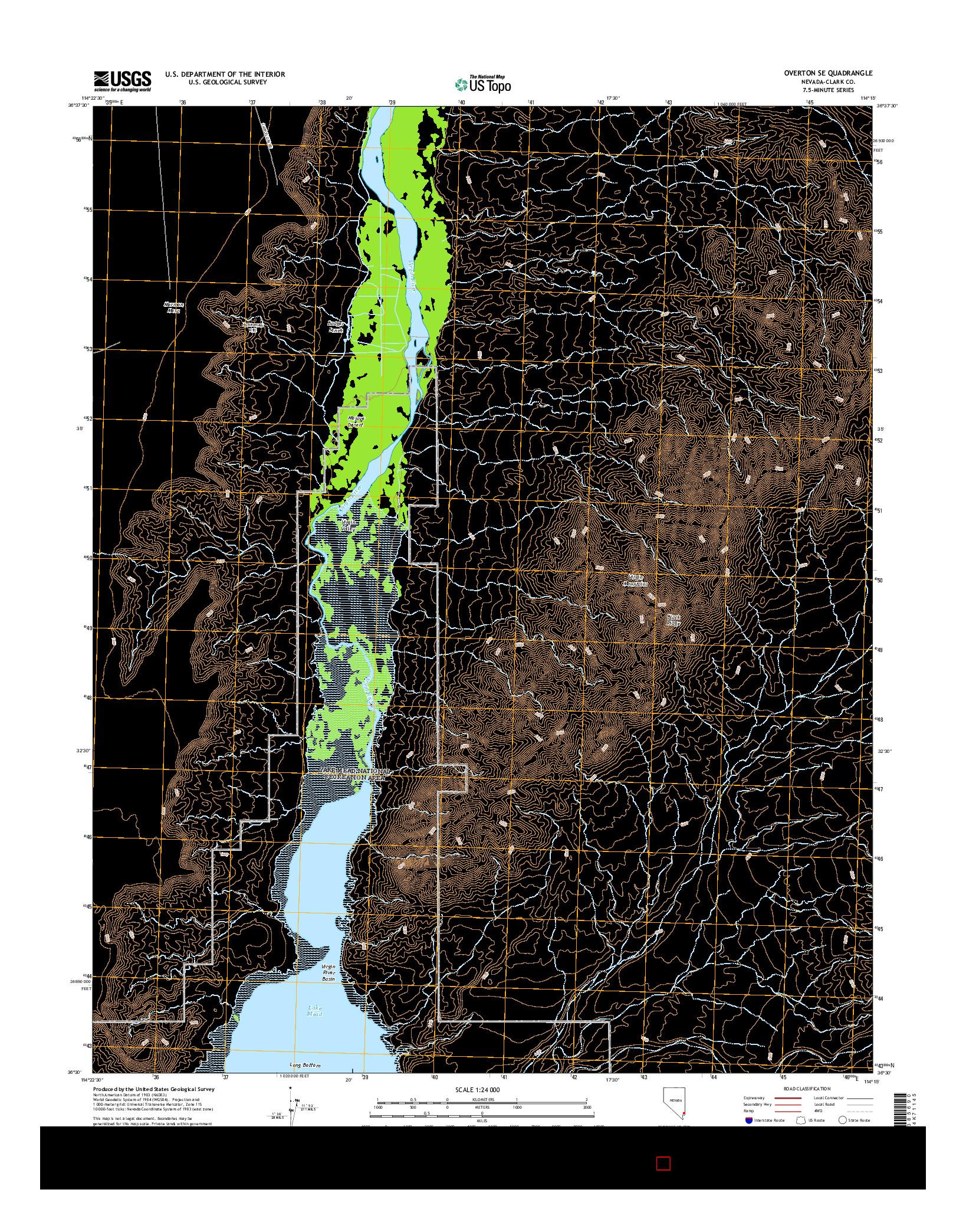 USGS US TOPO 7.5-MINUTE MAP FOR OVERTON SE, NV 2014