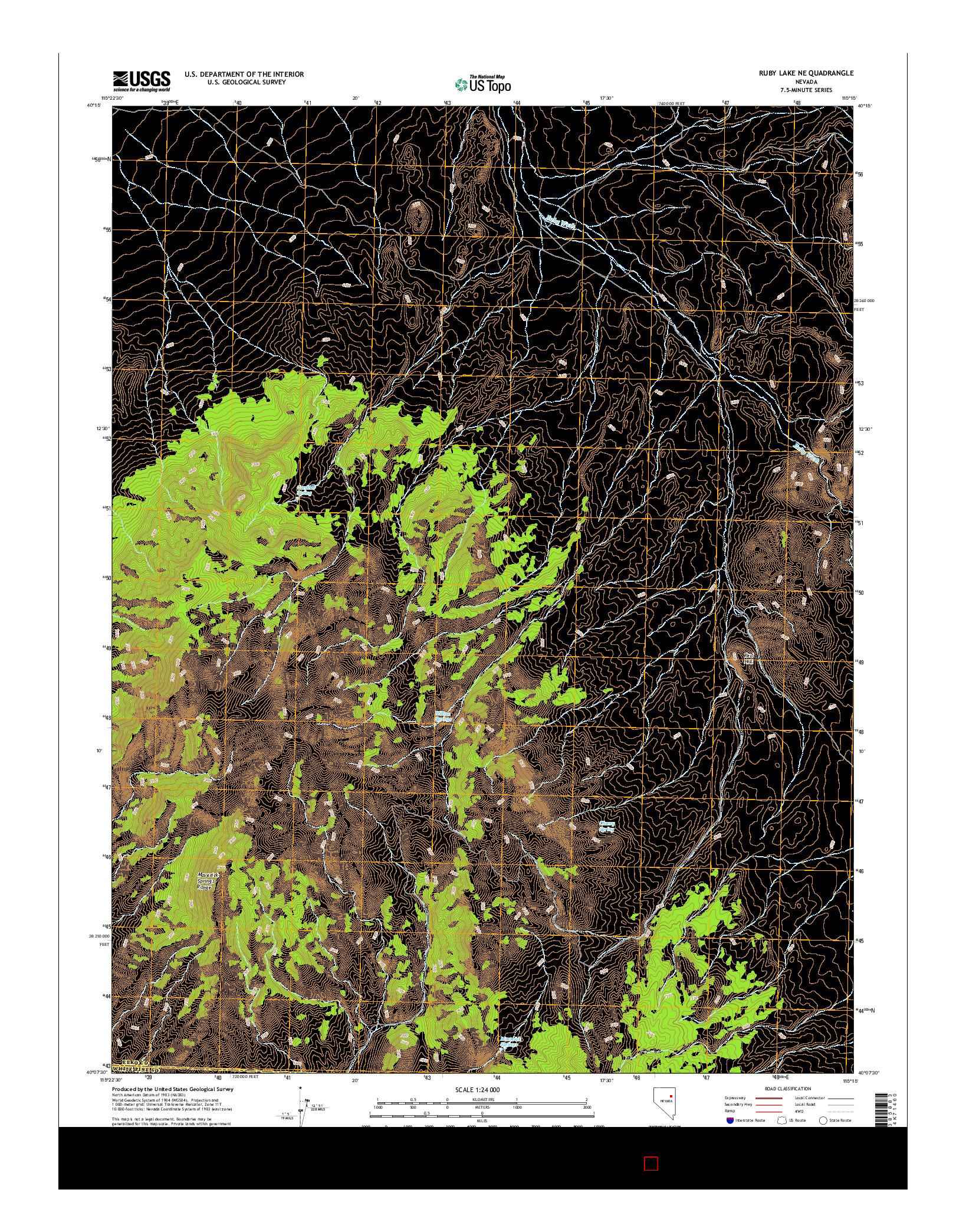 USGS US TOPO 7.5-MINUTE MAP FOR RUBY LAKE NE, NV 2014